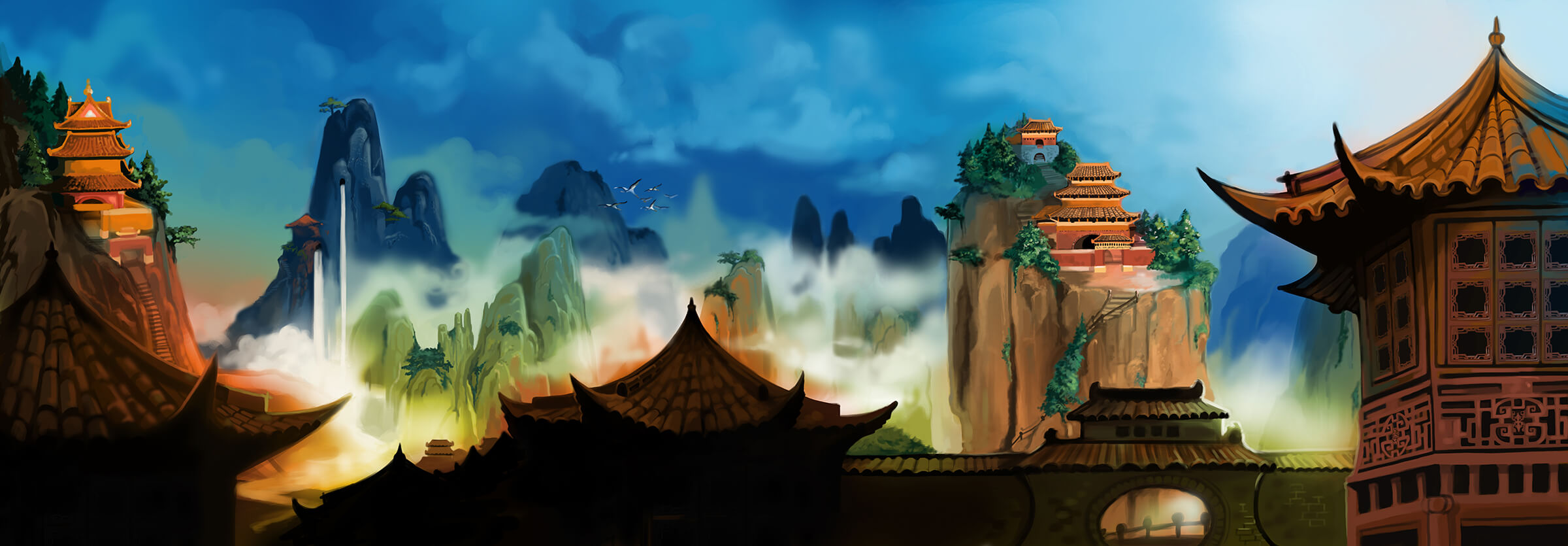 Panoramic landscape of a mountainous region above the clouds. Pagoda-like structures dot various peaks.