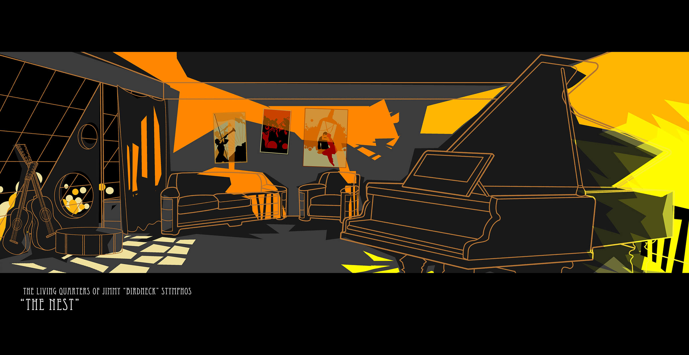 Jazz-era living room shaded stylistically in oranges, blacks, and yellows featuring a grand piano, couches, and guitars.