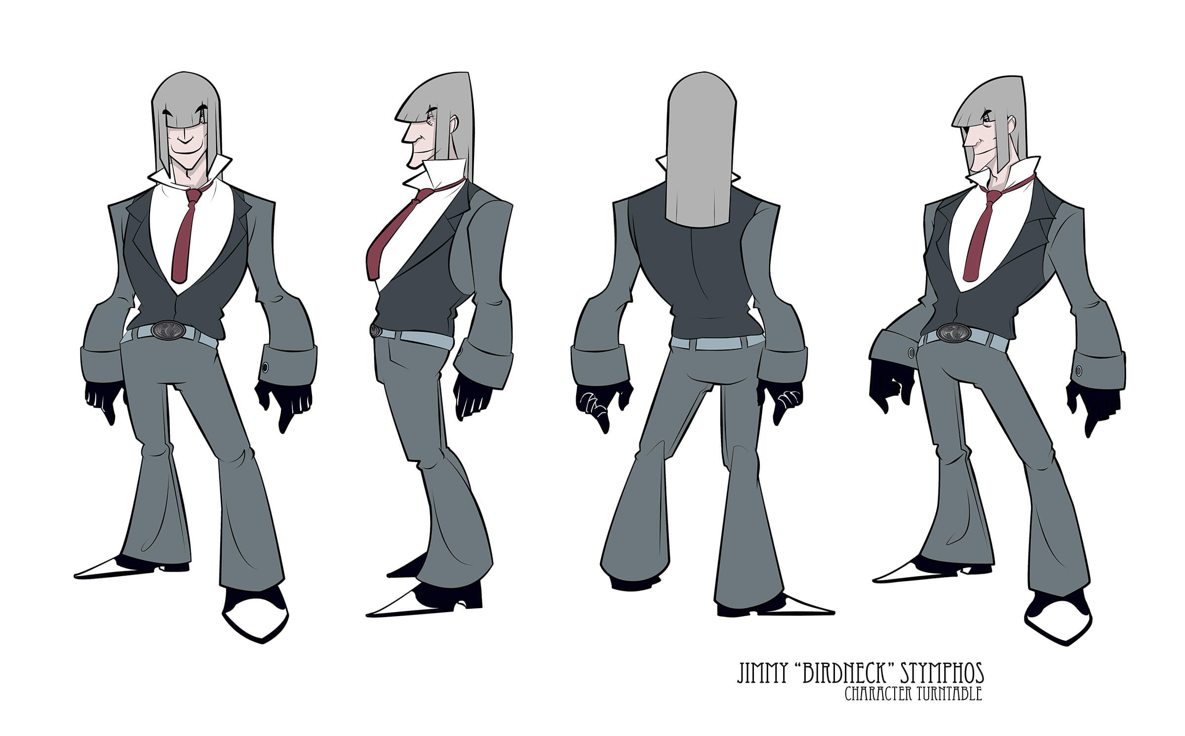 Turnaround sketches of a man with shoulder-length gray hair in a charcoal suit, standing with his torso jutting forward.