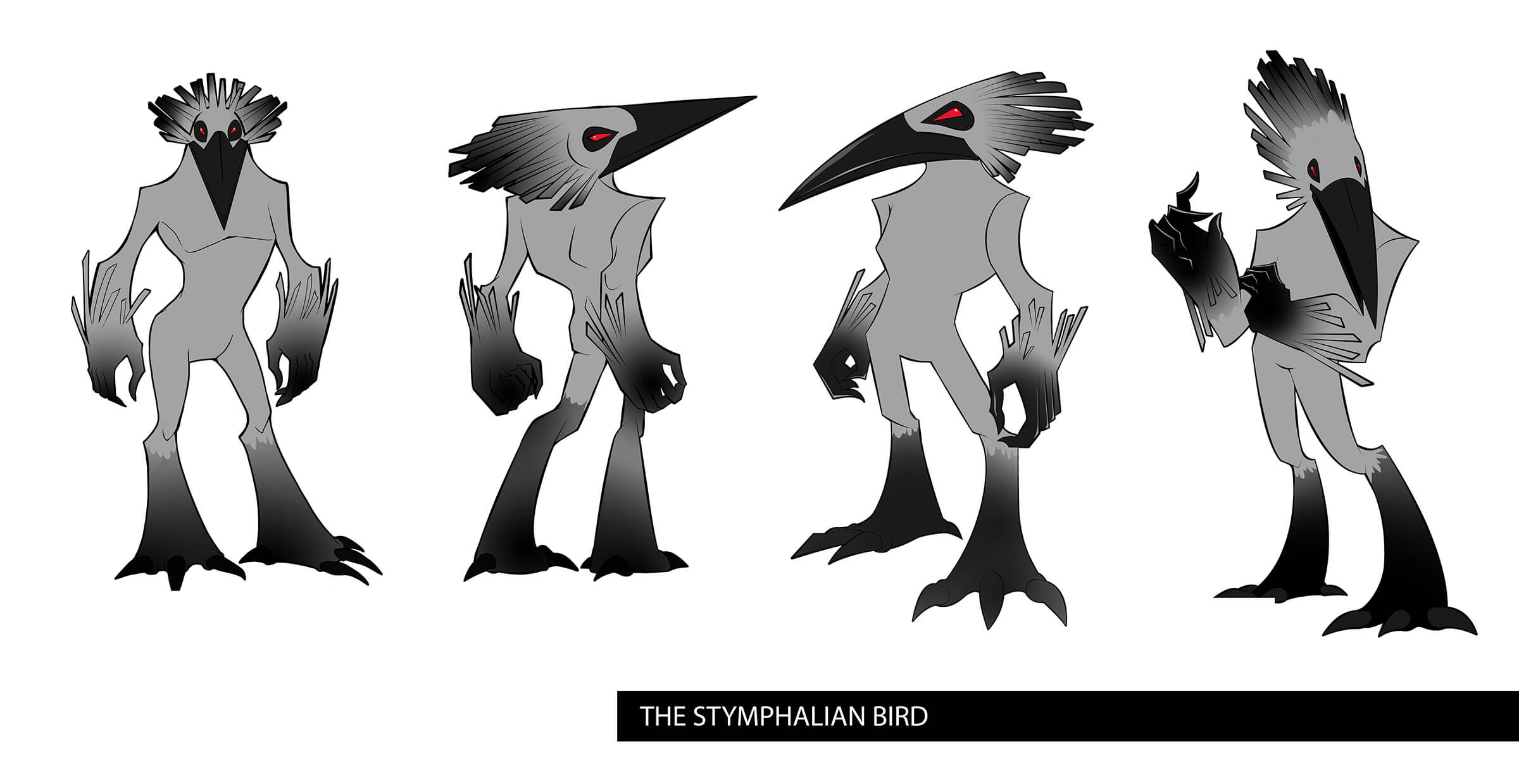 Turnaround sketches of a gray, bi-pedal bird-beast with a fiercely angular head ending at a sharp, black beak.