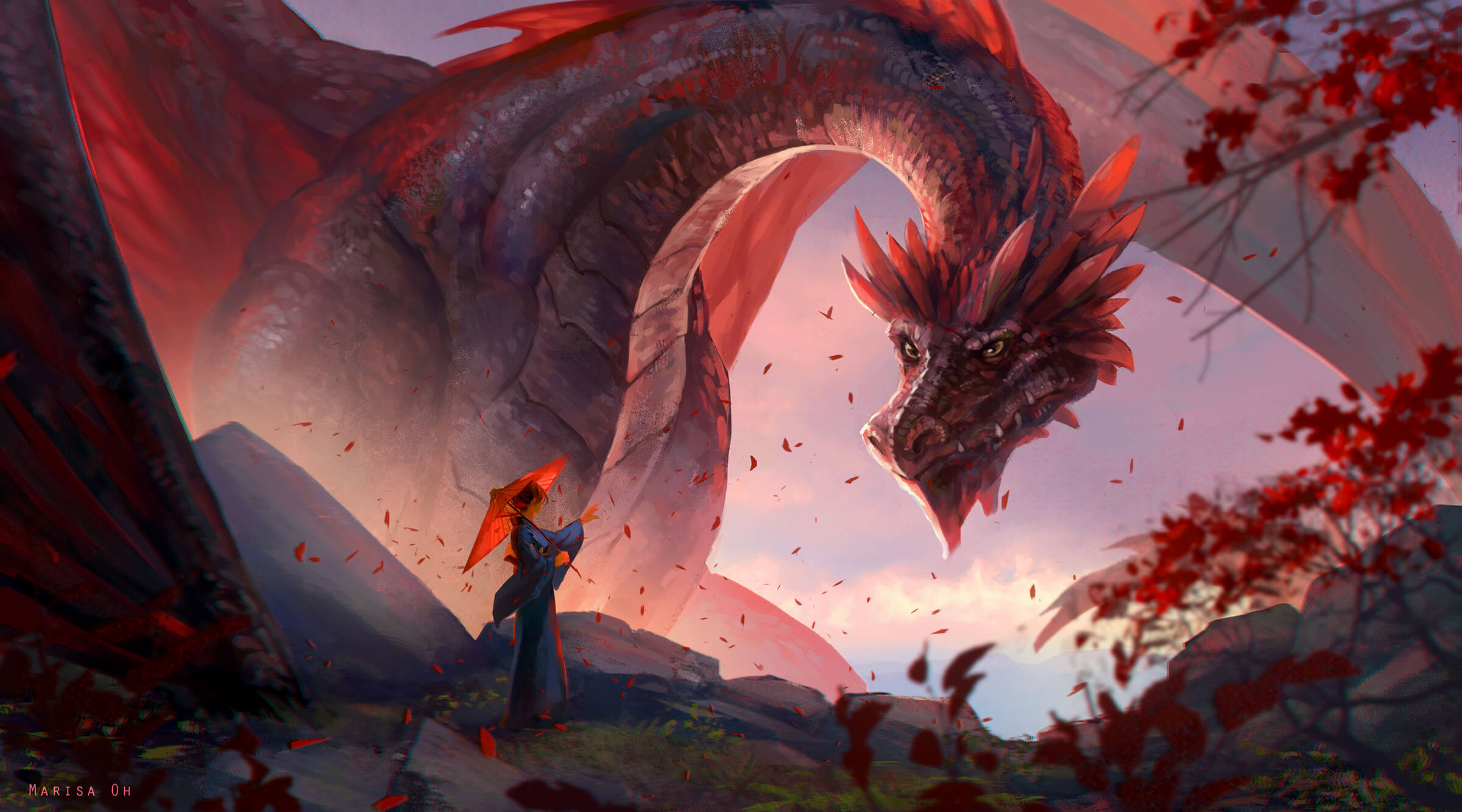 A woman holding a red paper umbrella greets a hulking red dragon at rest, its head craning to glower at her.