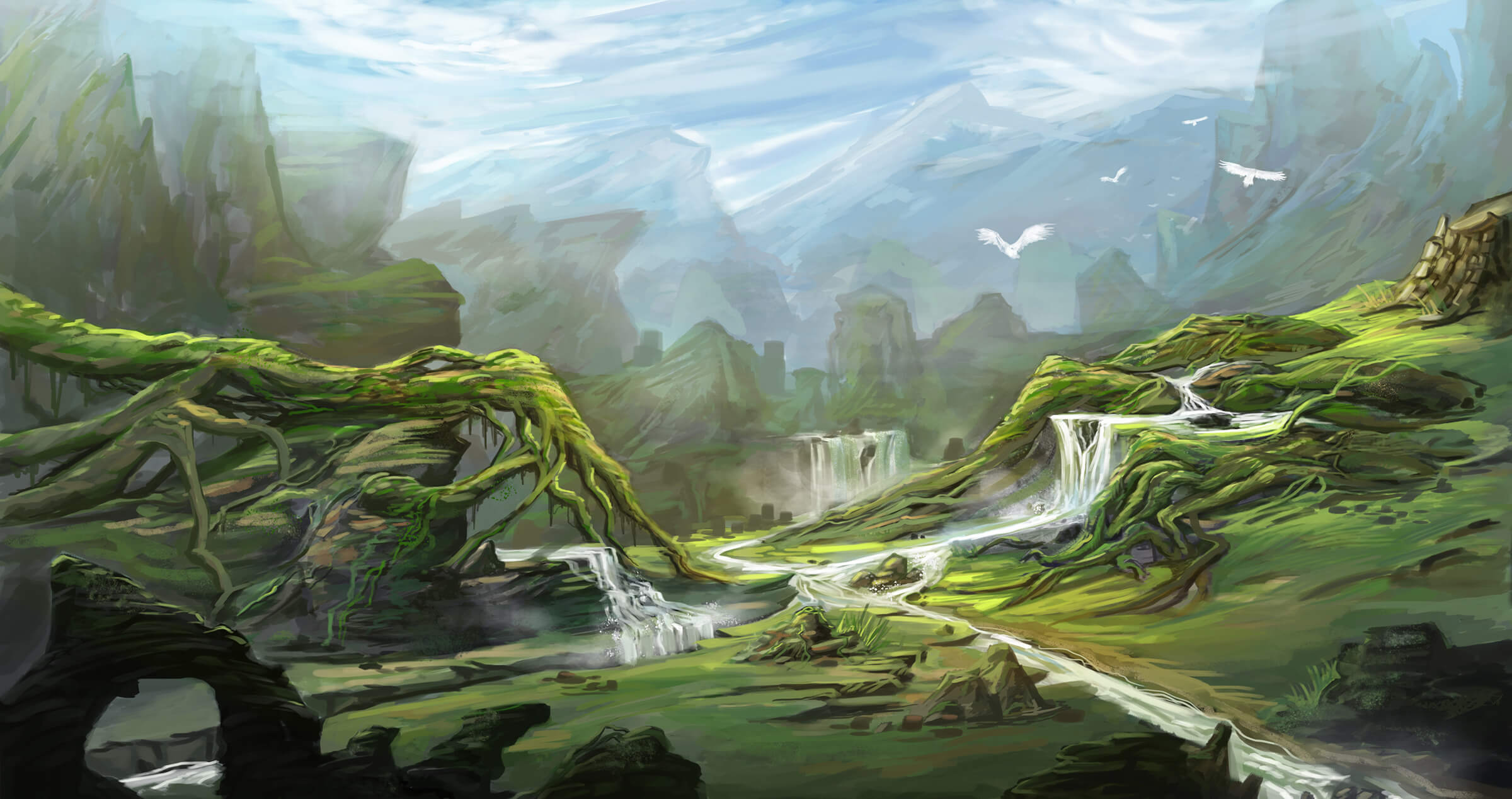 A river valley crisscrossed by shallow waterfalls and branched over by moss-covered roots from some enormous, unseen tree.