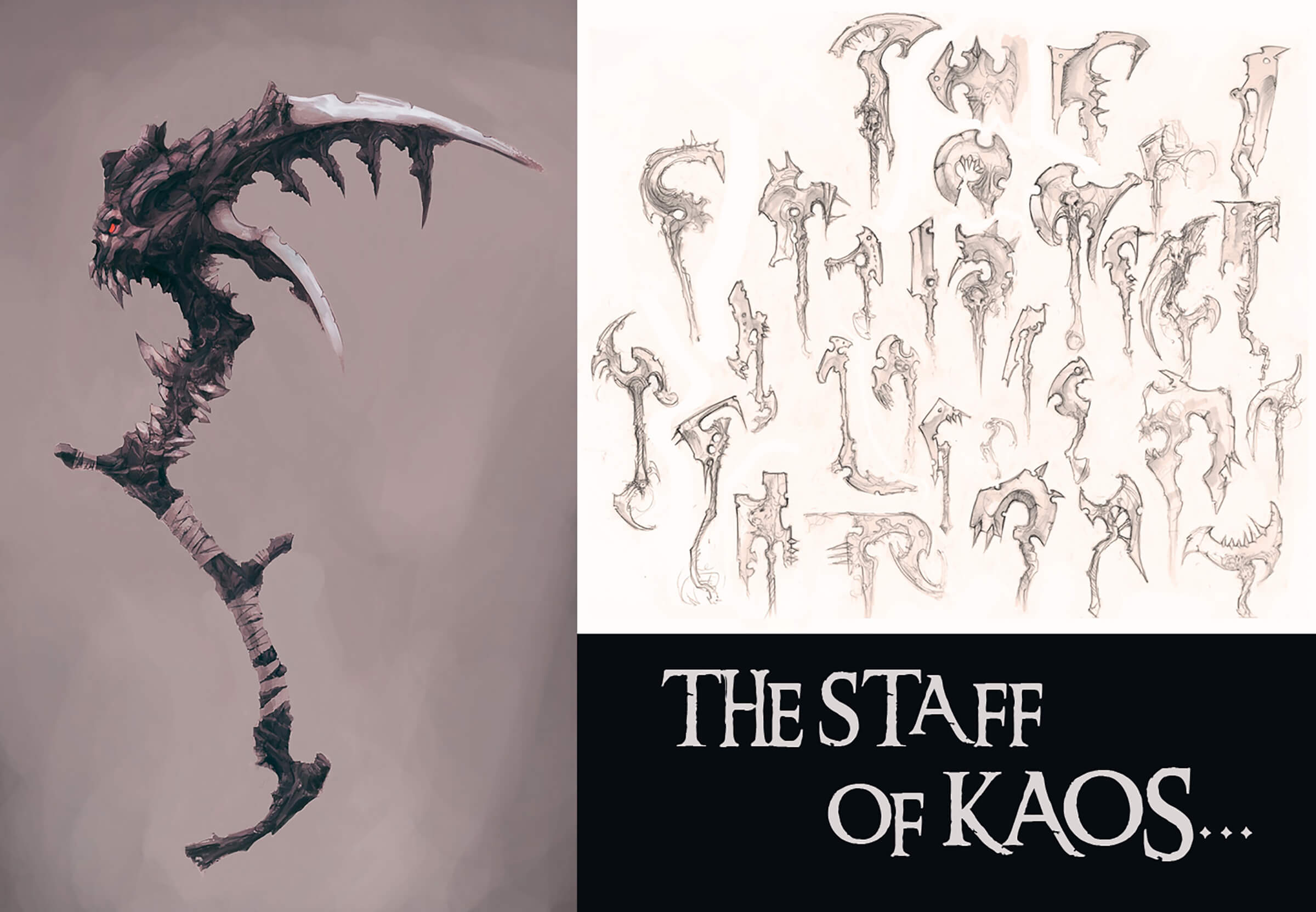 Development sketches of a menacing, gnarled double-bladed scythe fashioned with jagged face-like and skeletal protuberances.