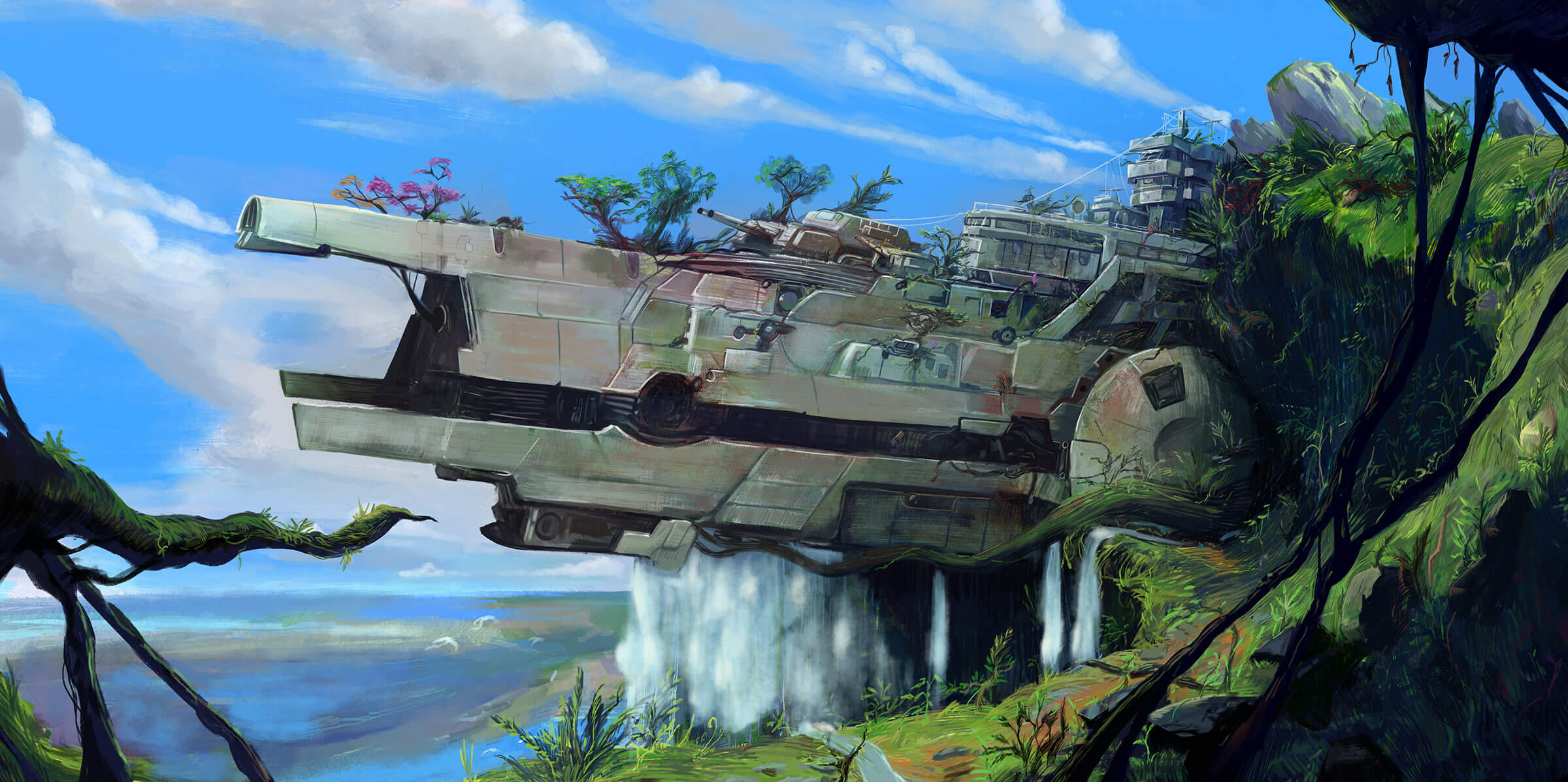 A futuristic warship overgrown with foliage lies abandoned near a waterfall.