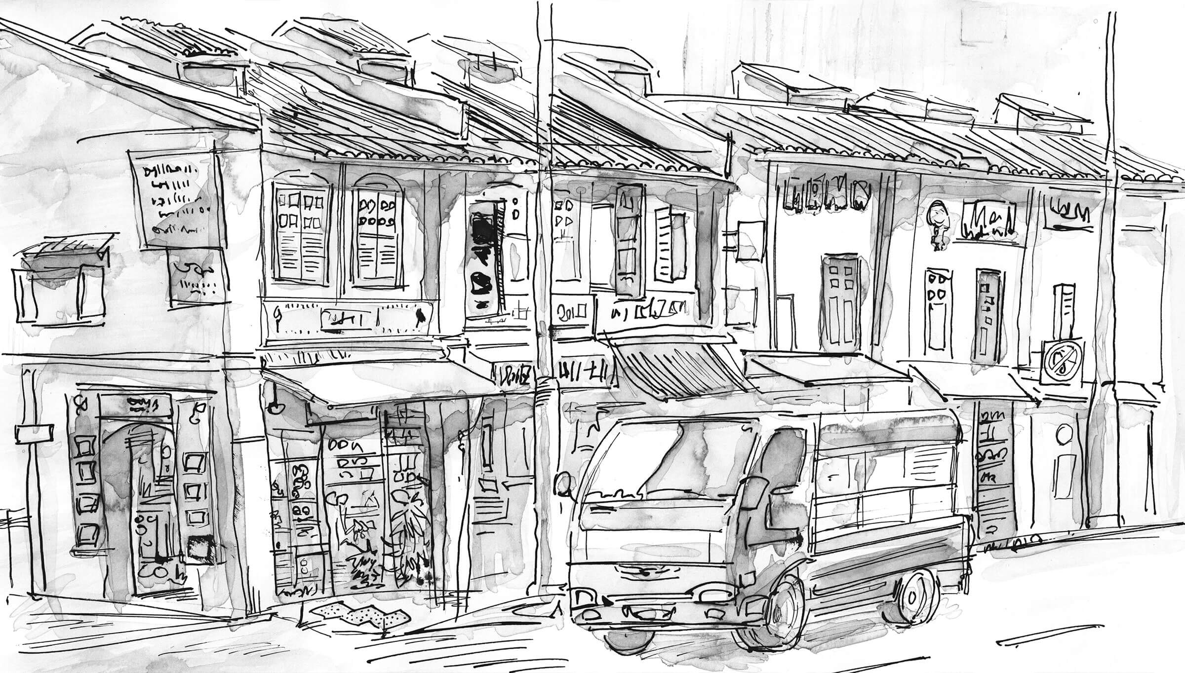 Black-and-white sketch of a van parked next to low-rise buildings.