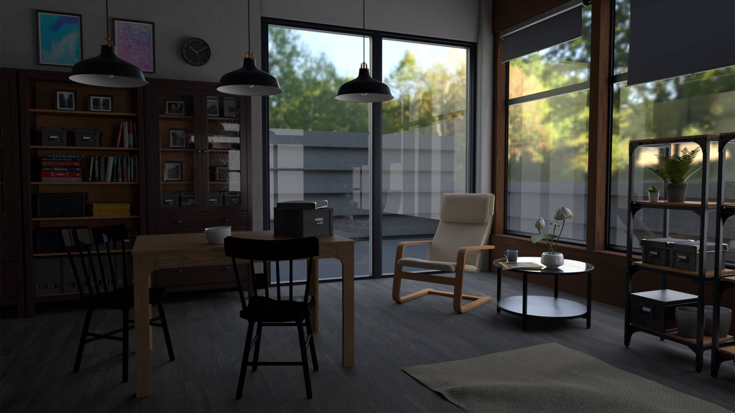 3D-modeled scene of a lounge looking out into a fenced yard.