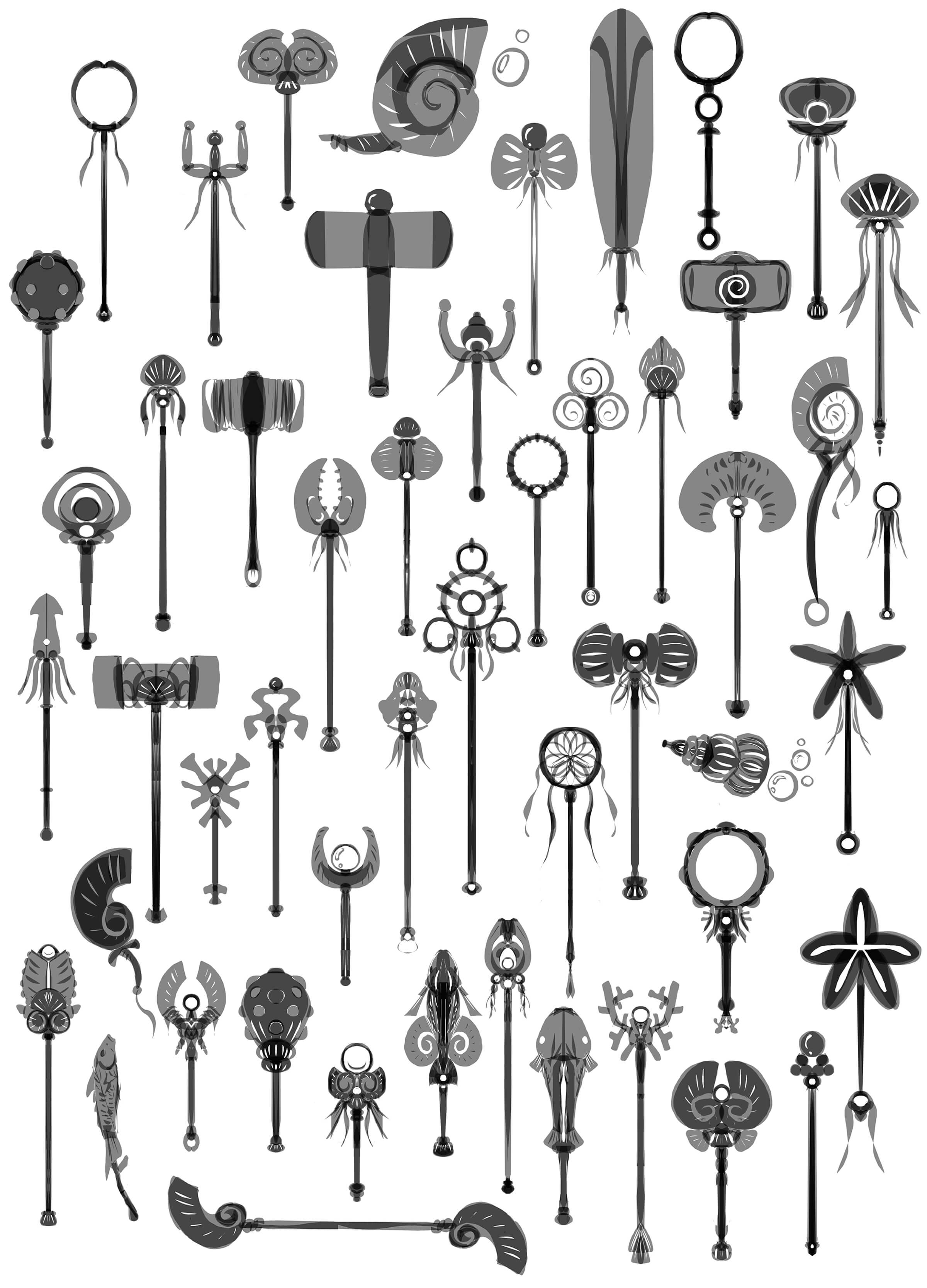 Black-and-white sketches of dozens of lengthy, ornate staves, war fans, warhammers, and khakkhara of various styles.