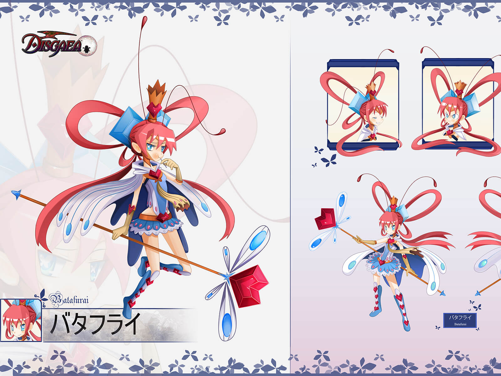 Triptych of a red-haired anime-style girl in blue-and-white fairy costume in different poses holding a heart-topped staff.