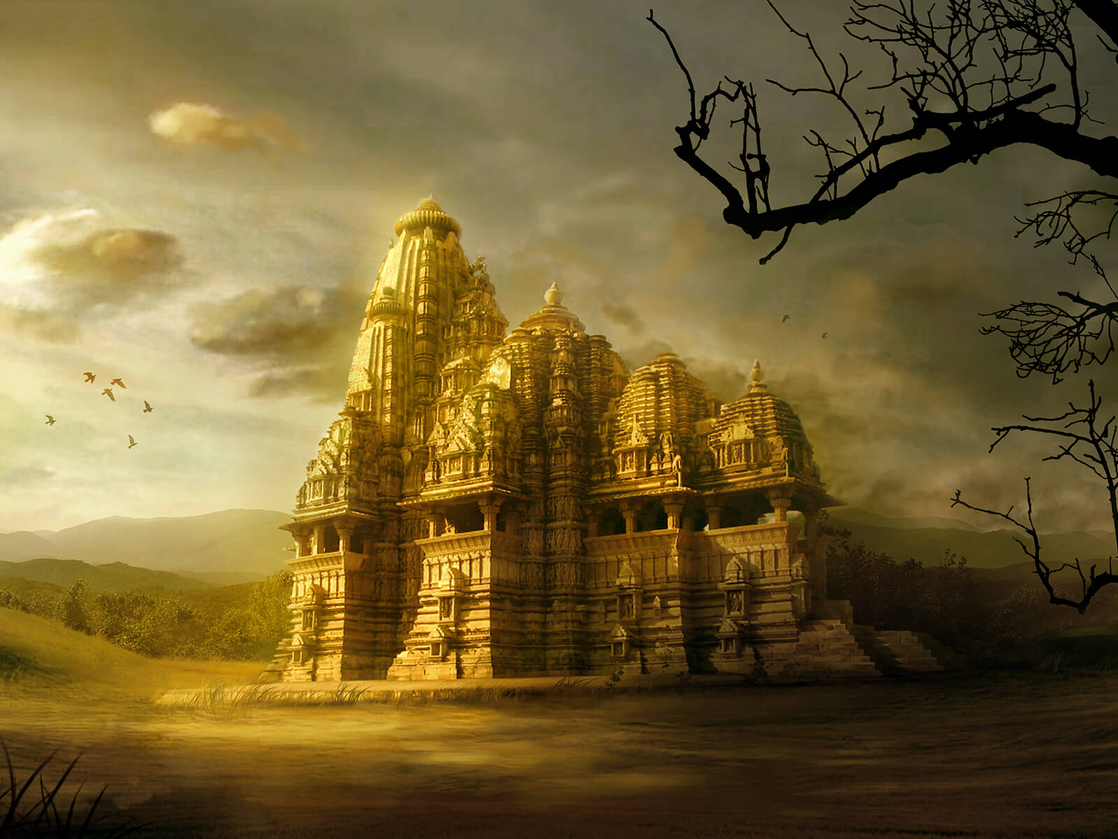 An ornate, abandoned stone temple standing in a grassy clearing, glowing gold in the sunlight.