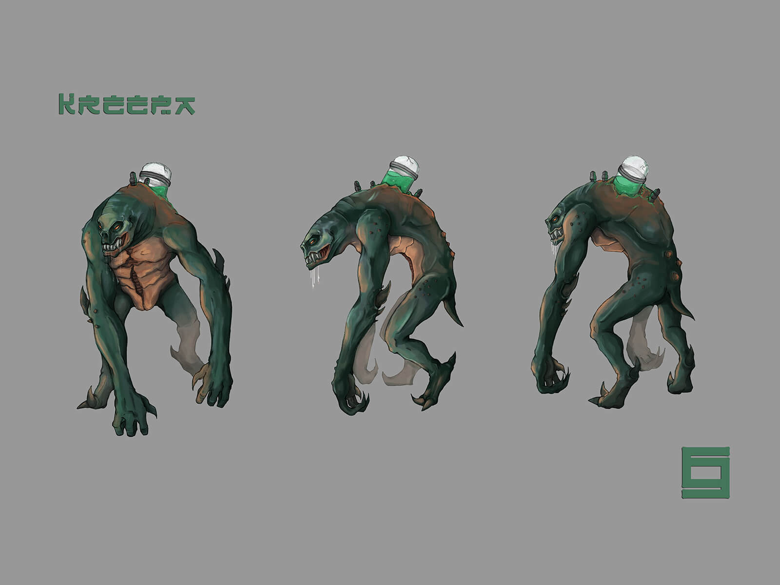 Concept art turnaround of a green lizard-like monster standing partly upright with a jar of green goo jutting from its back.