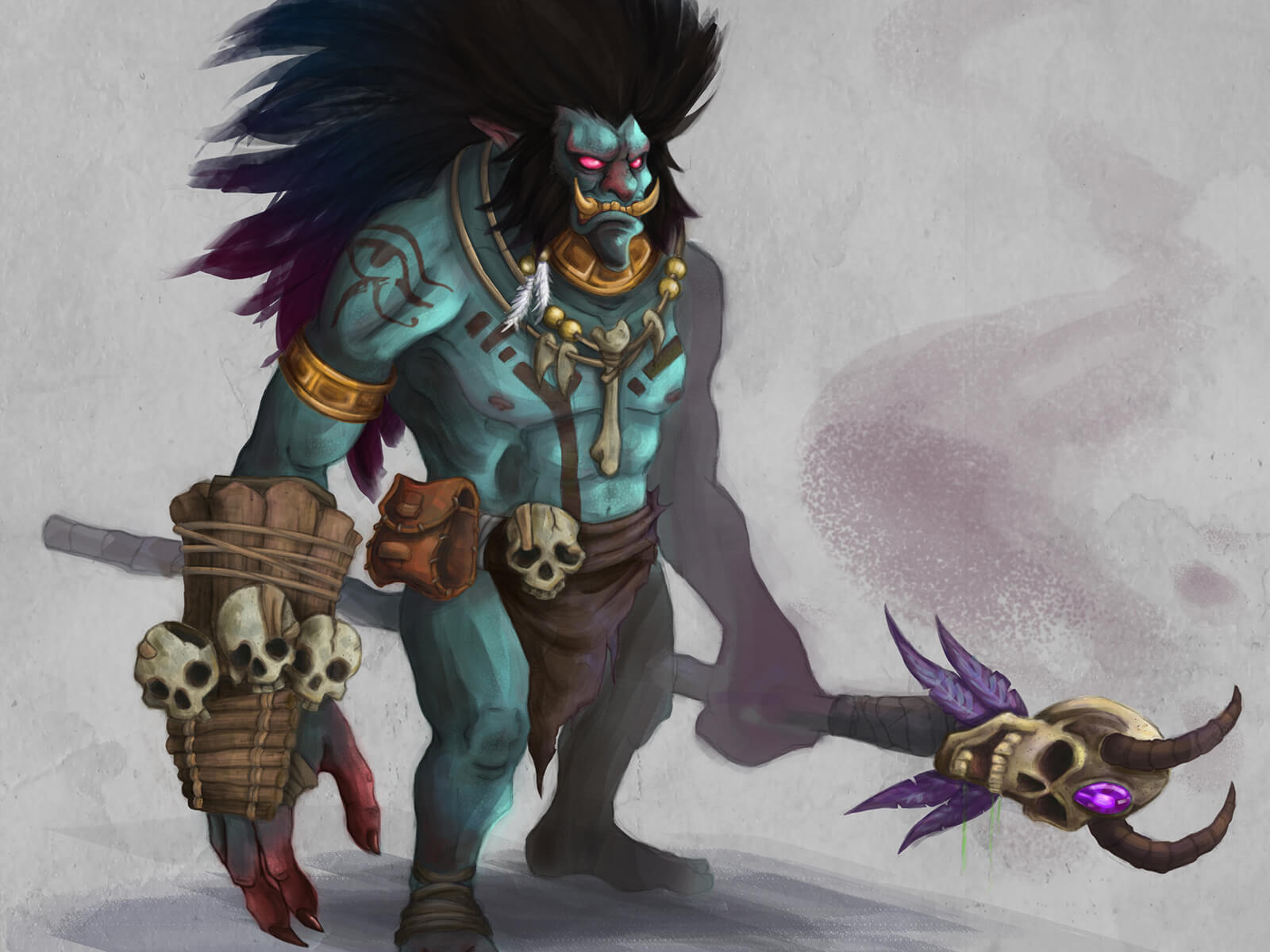 Concept art of a teal-colored monster with the features of a boar and lion, standing in shamanic dress adorned with skulls.