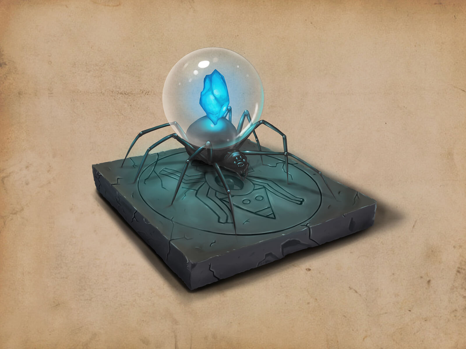 A large black spider with a glowing blue shard on its back, resting on a stone slab with a tribal symbol carved into it.