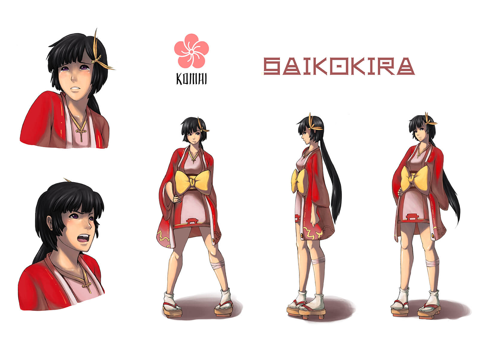 Concept art turnaround of a woman named Komai in various poses wearing short, red Japanese garb and geta footwear.