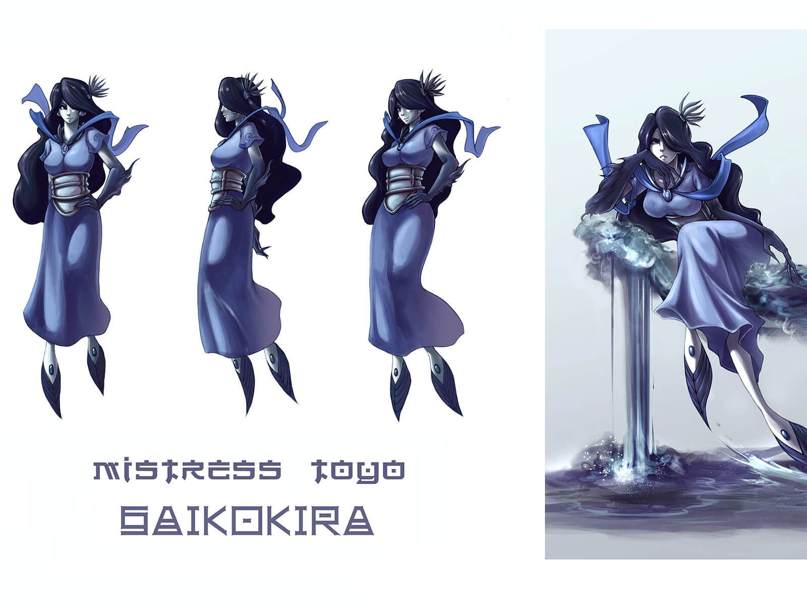 Concept art of a pale, black-haired humanoid with frilled feet in various poses, including sitting on a throne of water.