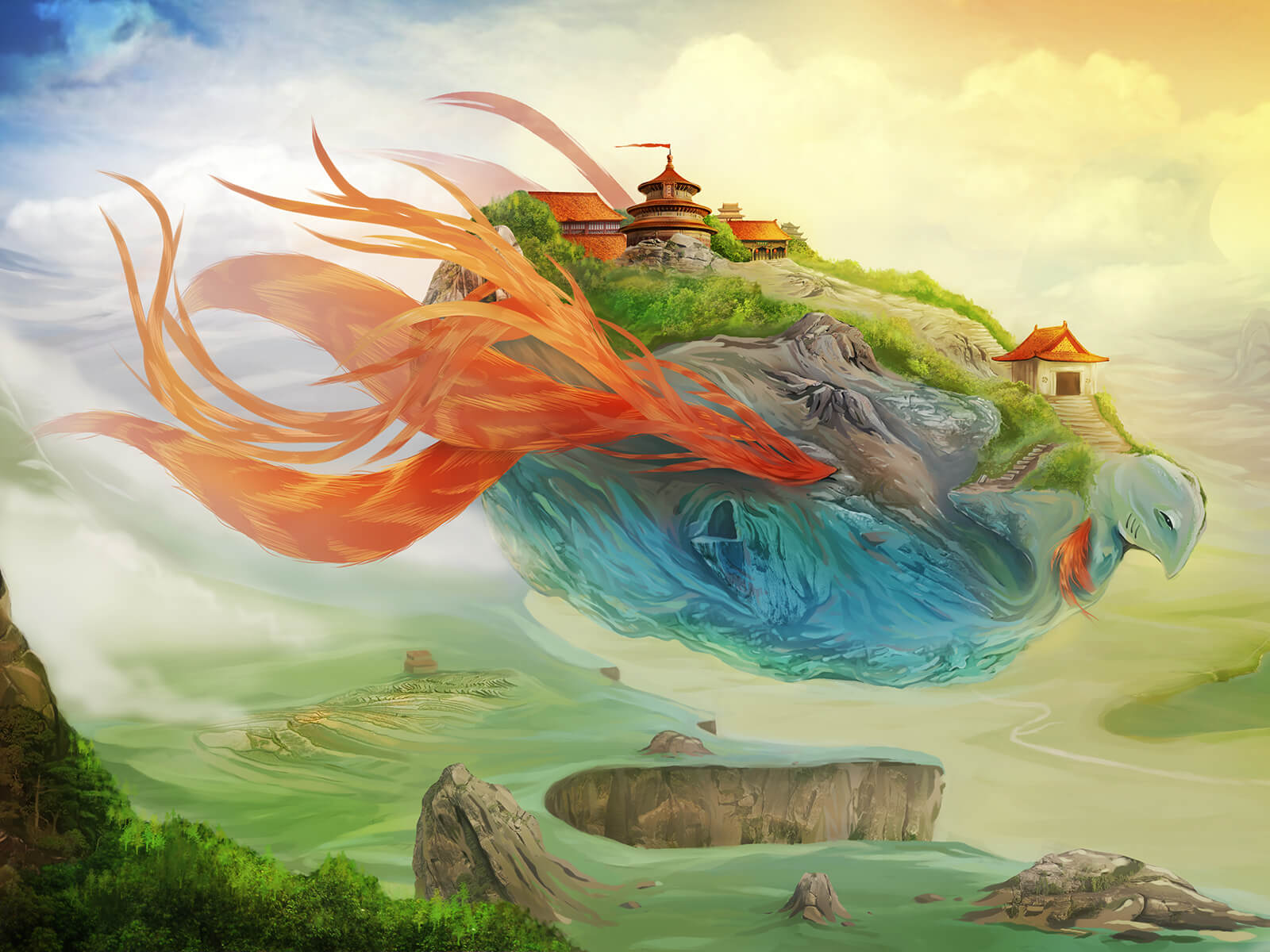 A village stands on the back of a mythical, red-frilled, blue beast drifting above a surreal, cloudy plain.