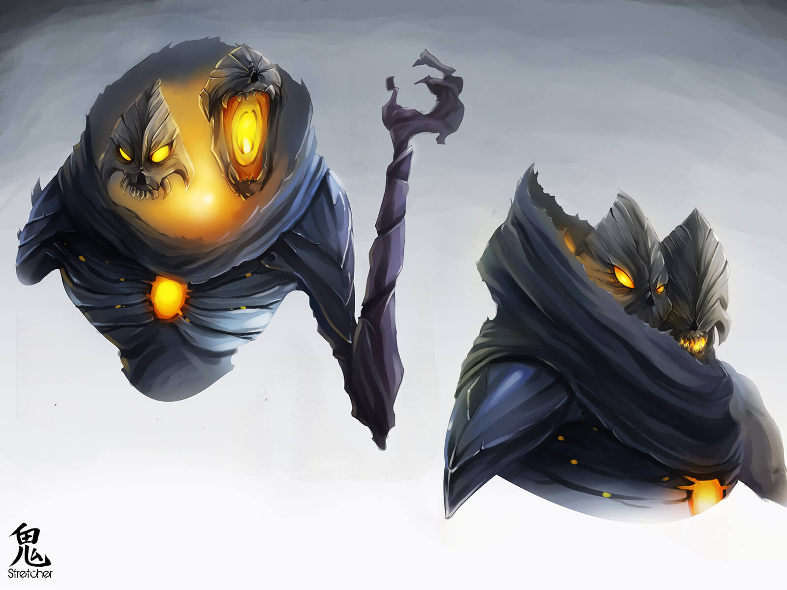 Concept art of a gray, demonic character with two heads, glowing orange from its eyes, neck, and chest.