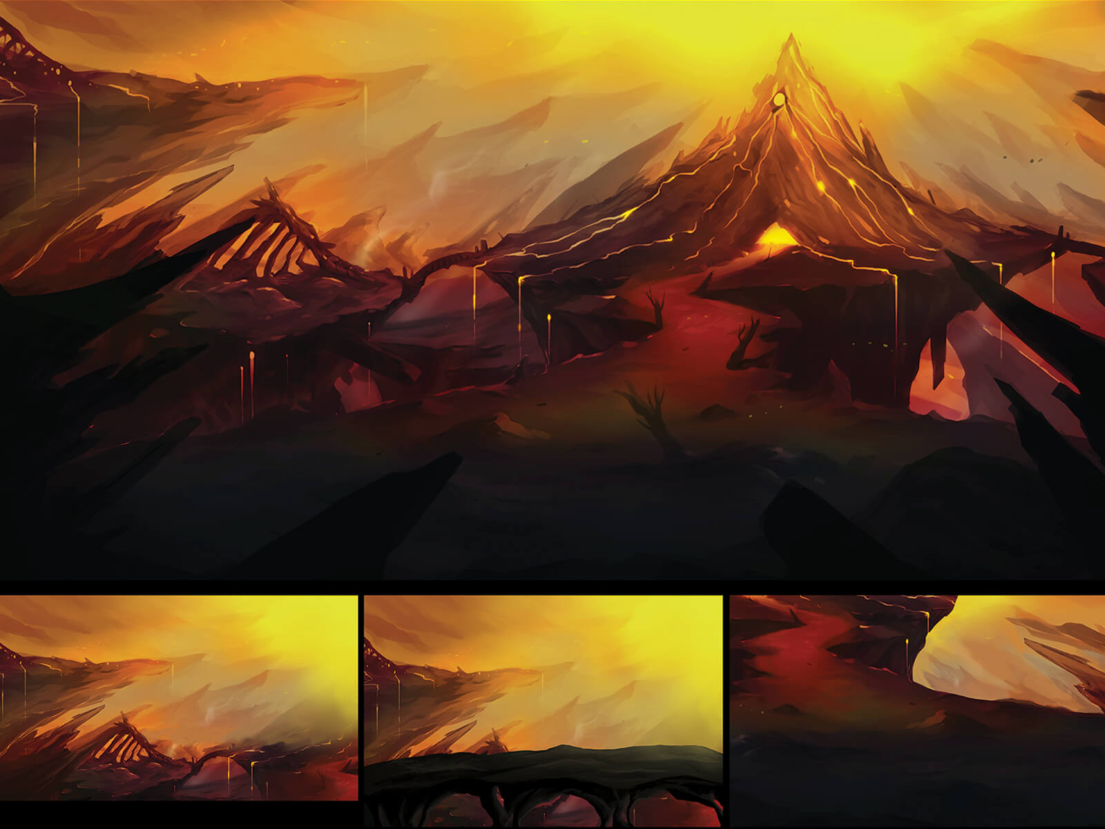 Concept art of landscape in a mountainous area devastated by an active, spewing volcano, the scene's only source of light.