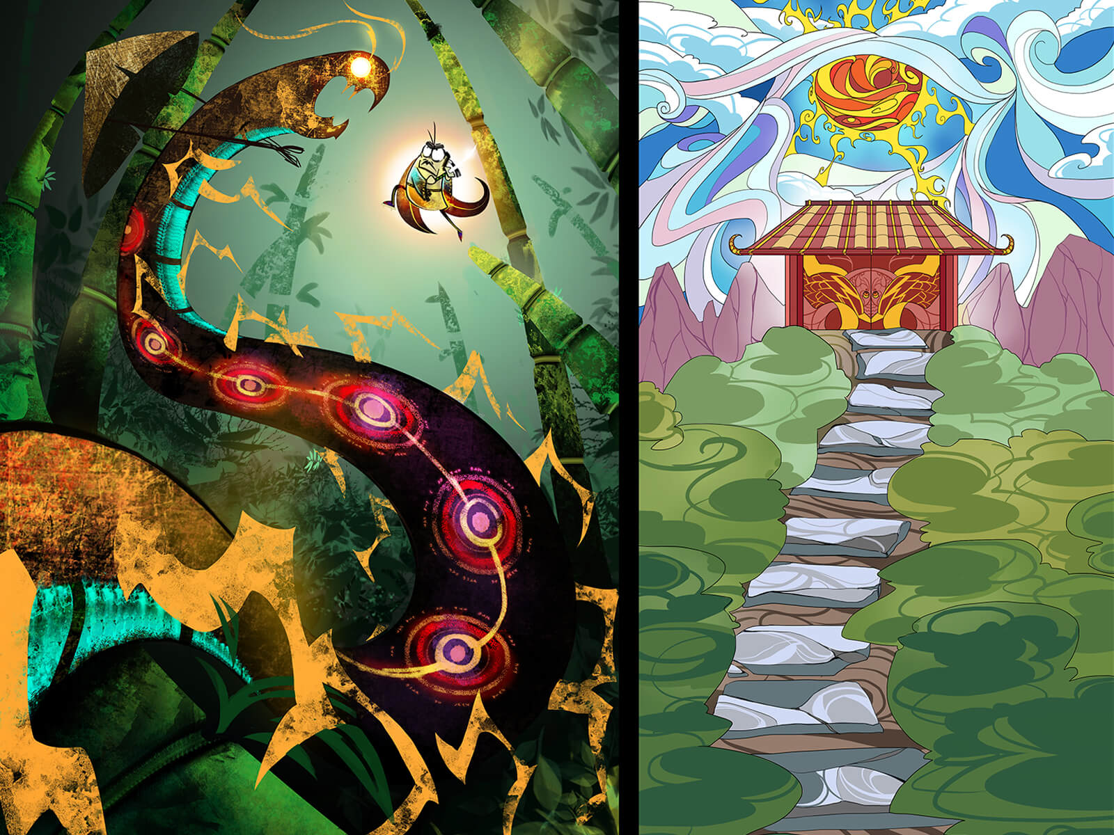 Two scenes in different art styles: a fight between beasts, and an ethereal temple