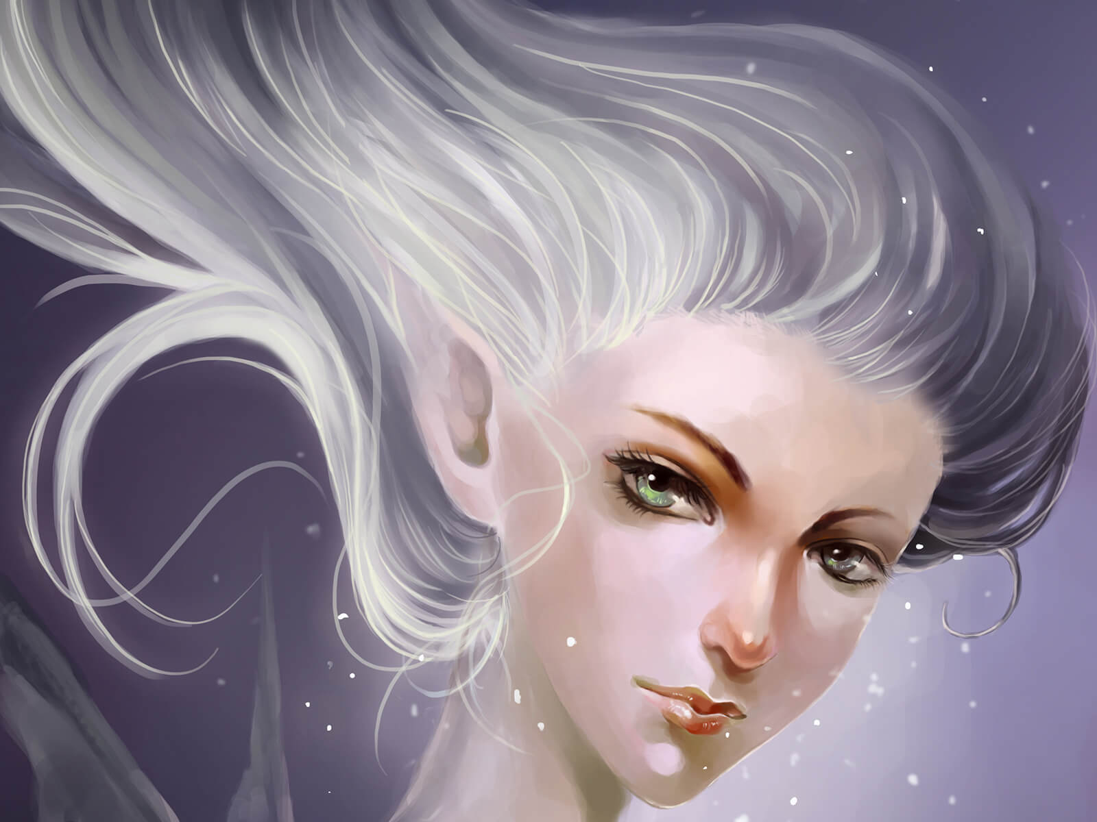 A portrait of a fairy-like character looking over her shoulder at the viewer, her white hair caught in an updraft.