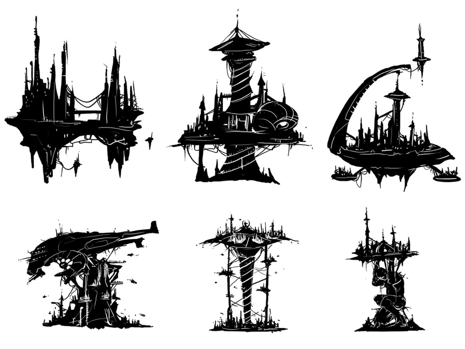 Concept sketches of an alien, city-like aircraft, with varying amounts of spire and tower structures on top of it.