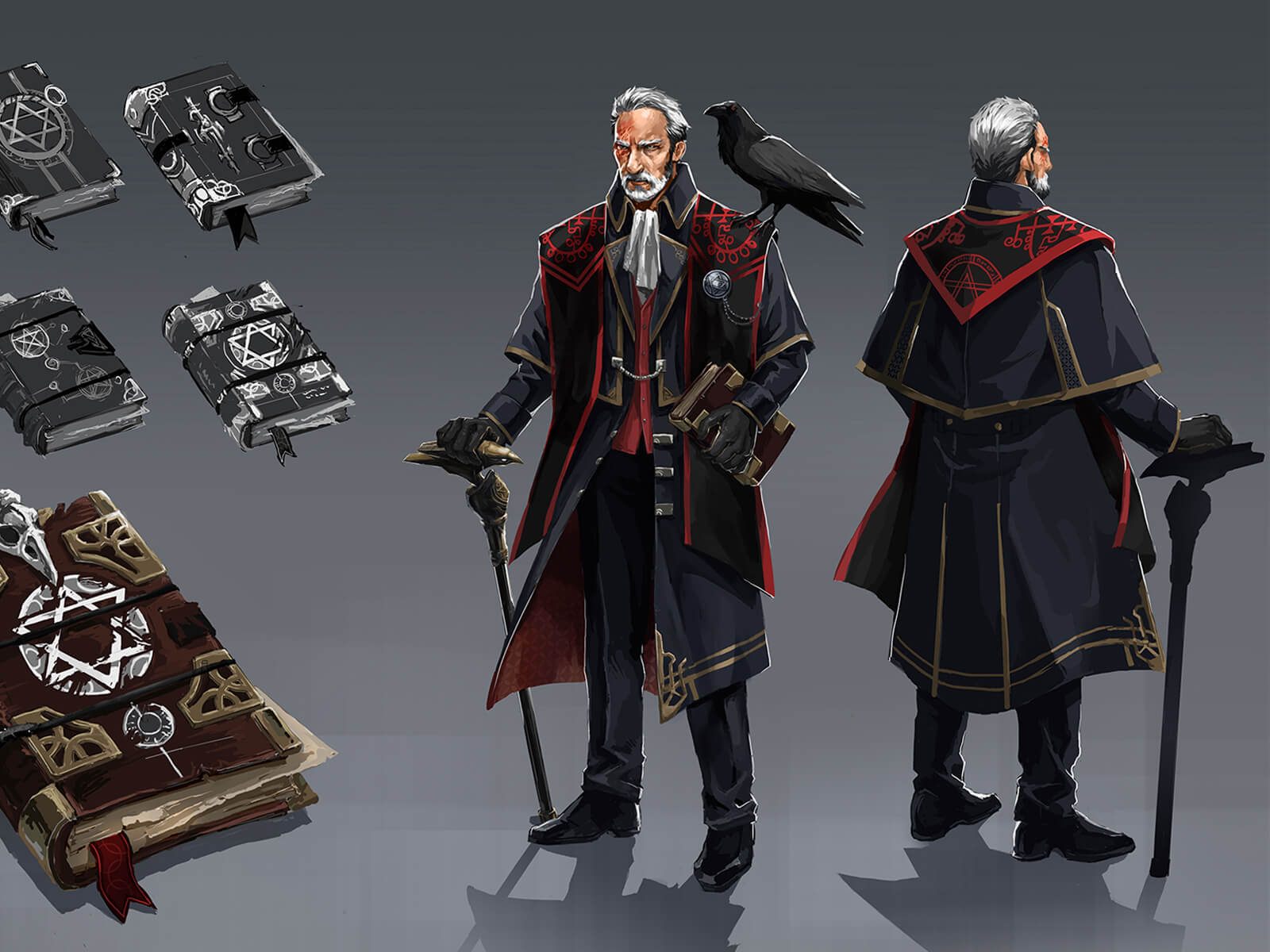 An old man in steampunk-style wear with a raven on his shoulder, with development sketches of his ornate cane and journal.