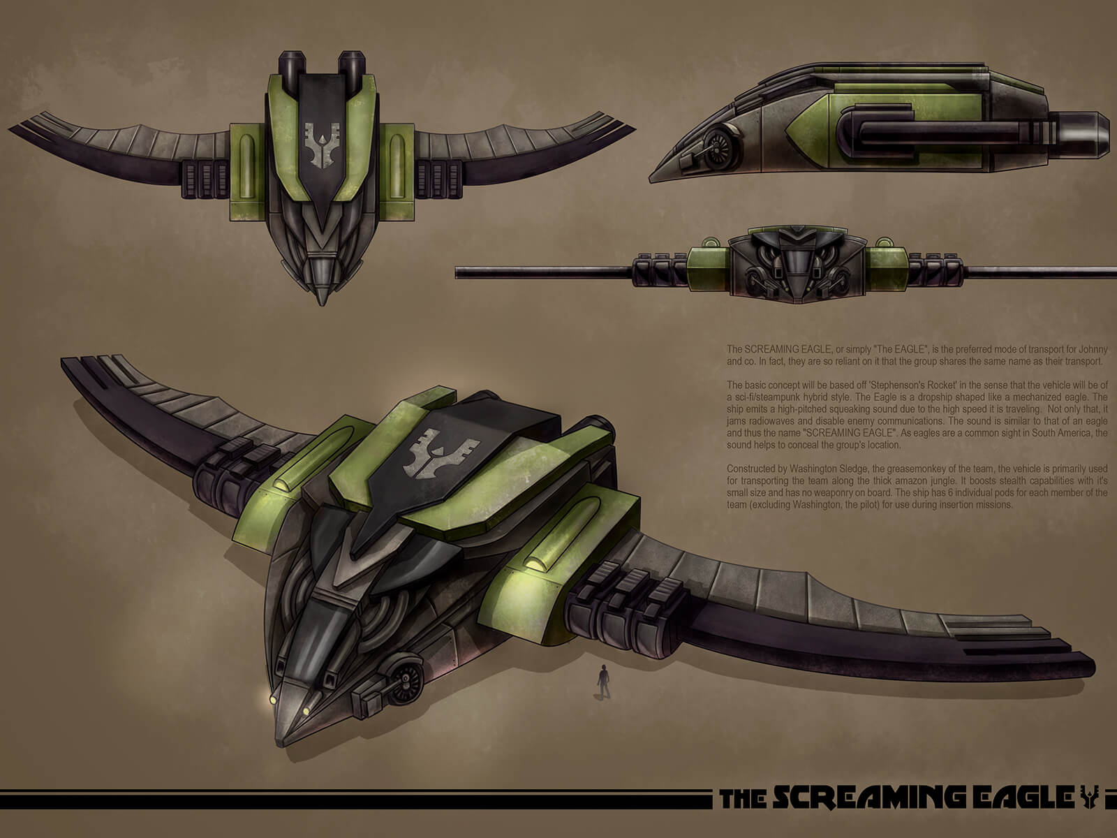 Concept art of a black and green flying vehicle with ornamentation resembling an eagle as seen from different angles.