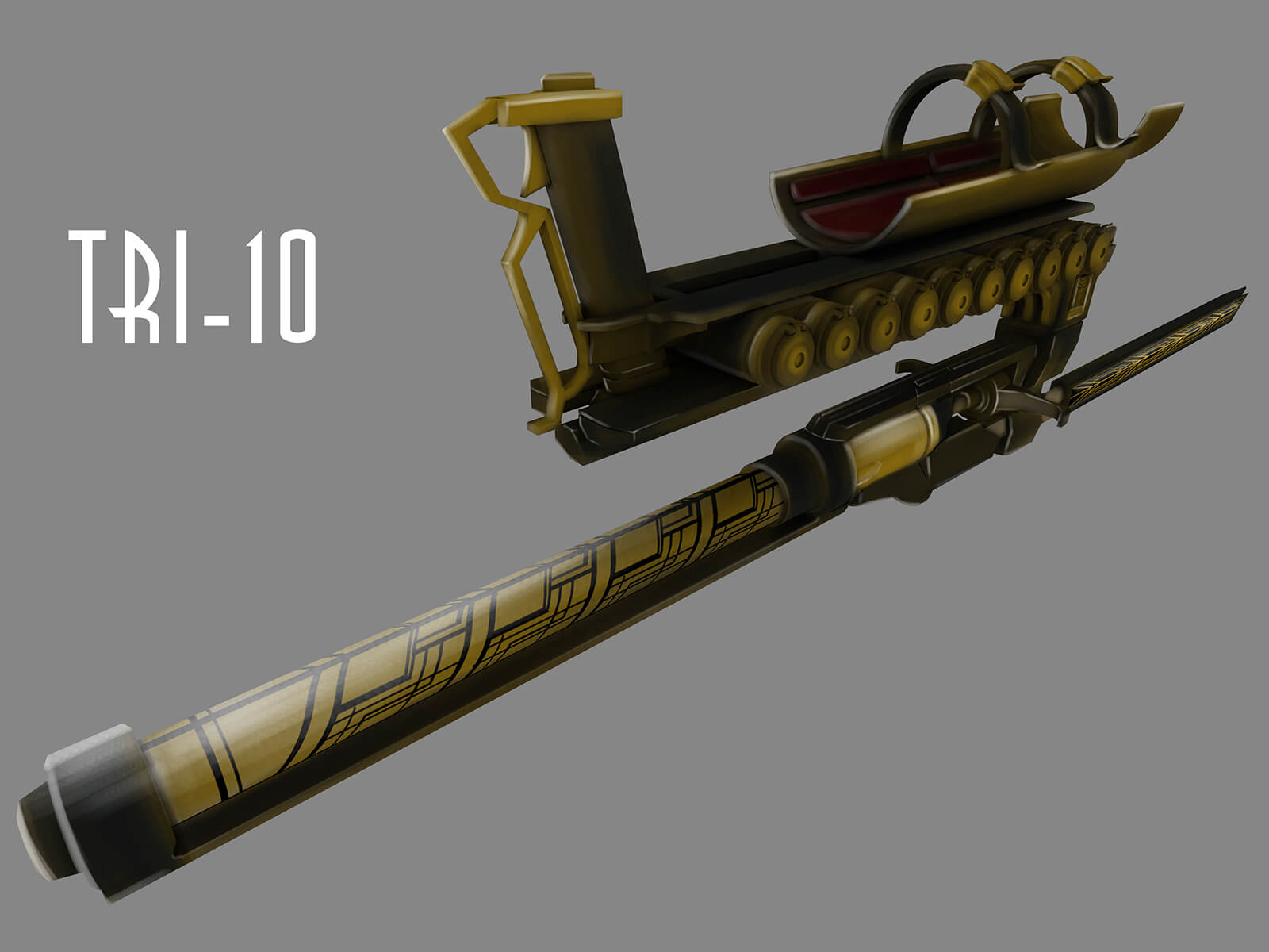 Concept art of a mechanical, arm-held weapon with a black, gold-and-black adorned shaft, and concealed gun barrel.