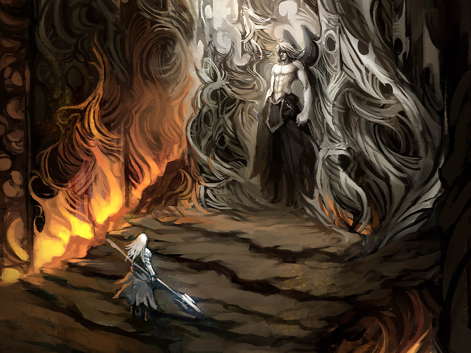 In a dark, flame-lit cavern, a white-haired figure approaches a taller figure standing atop an adorned stone pedestal.
