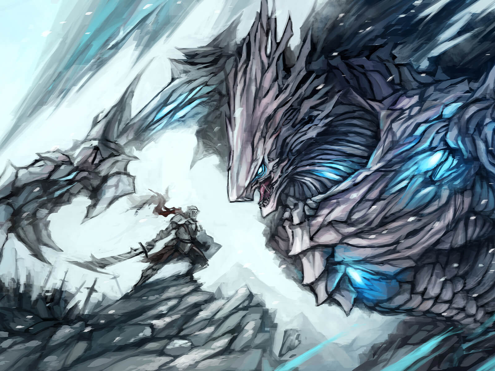 A knight with a sword and iron armor stands off against a gray, stone-faceted beast with glowing-blue points around its body.
