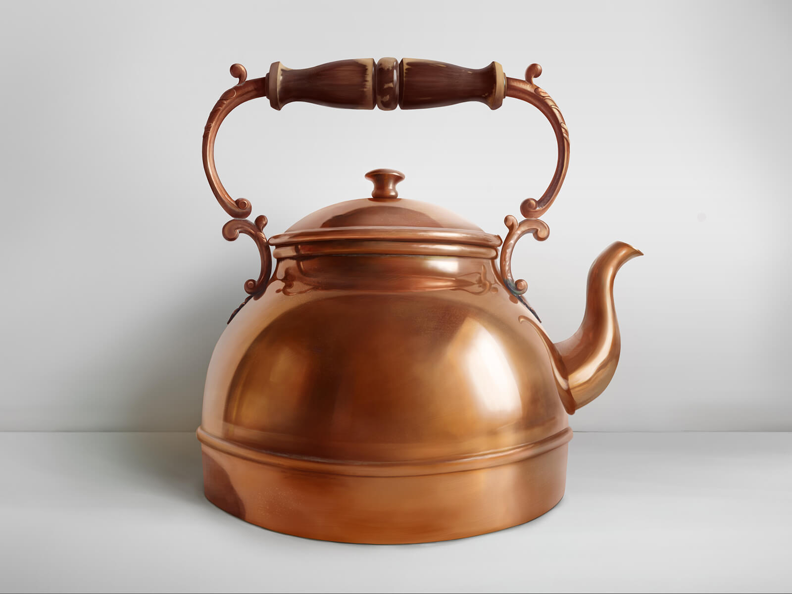 Still life painting of a copper kettle against a white background with an ornate wooden handle above.