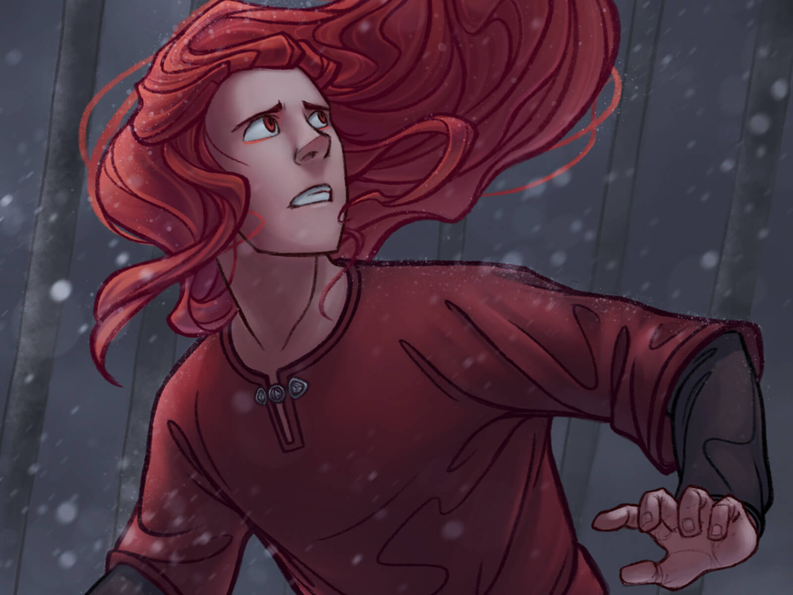 A man with long red hair in a red tunic looks worriedly over his shoulder in a snowy environment.