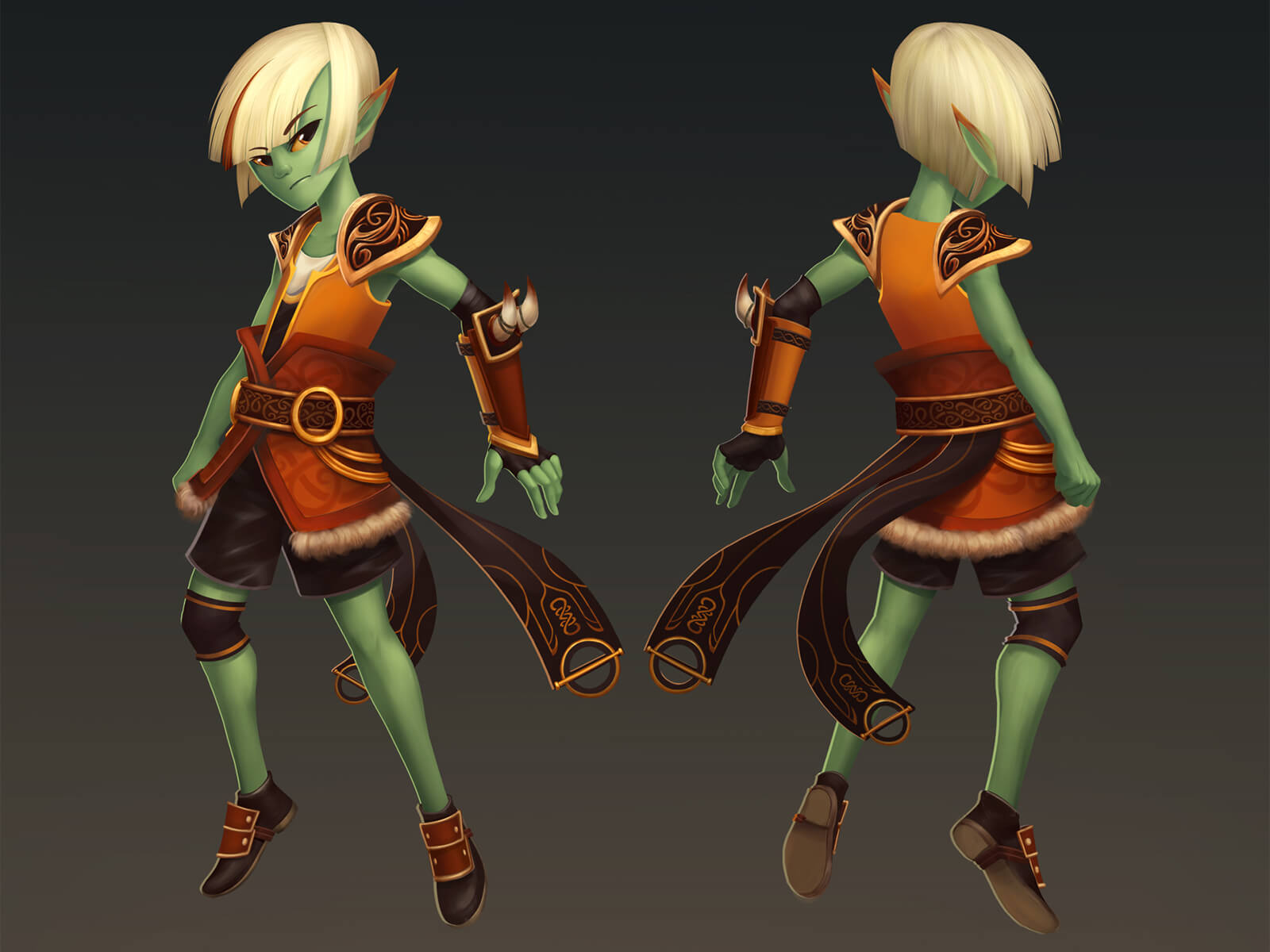A turnaround sketch of a green elf-like character with blond hair in ornate, light-leather armor.