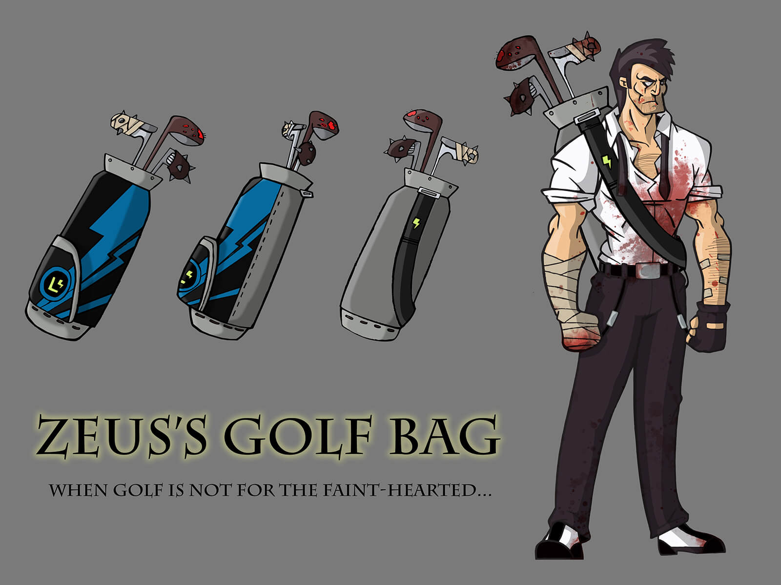 Cartoon sketches of a golf bag of threatening golf clubs, slung over the shoulder of a tall, blood-splattered man.