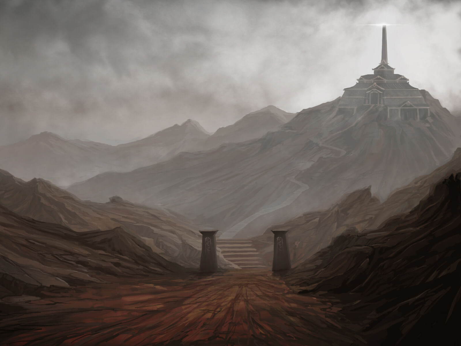 A temple and a single shining spire lie high up a mountainside, overlooking a desolate rocky landscape below.
