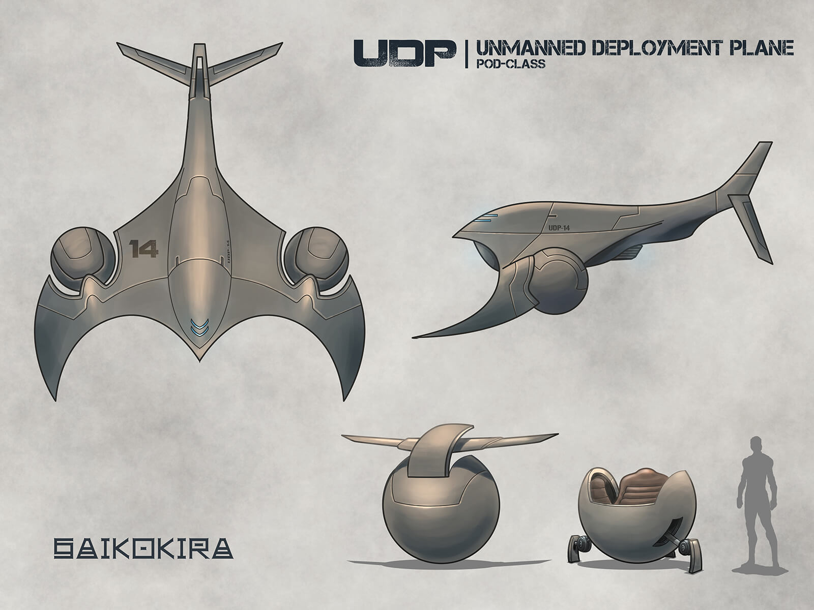 Sketch of a futuristic gray-metal flying vehicle, including spherical pods meant to detach holding a single occupant.