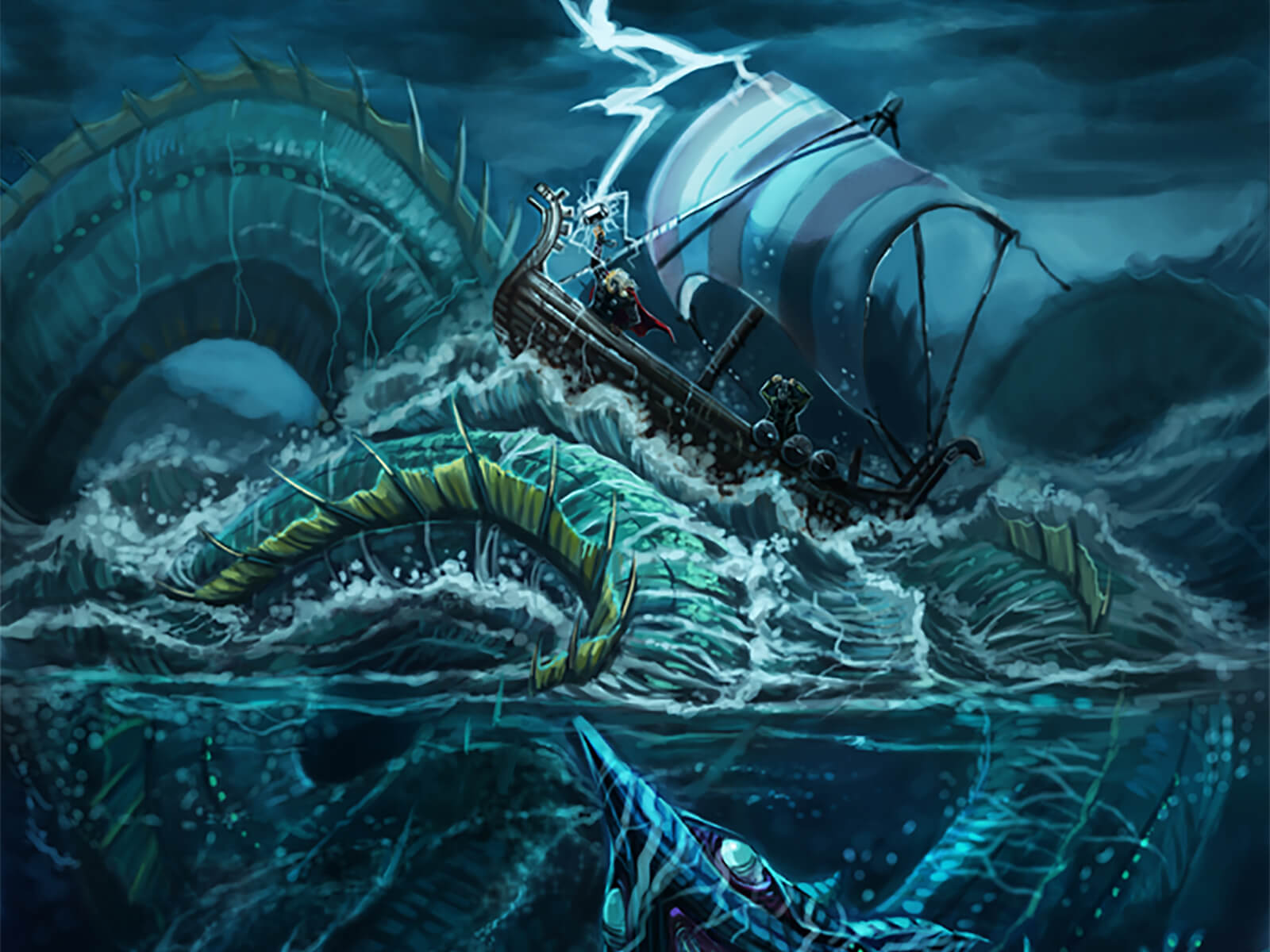 A occupant aboard a viking-style ship is struck by lightning as he is raised above the waves by a massive sea monster below.