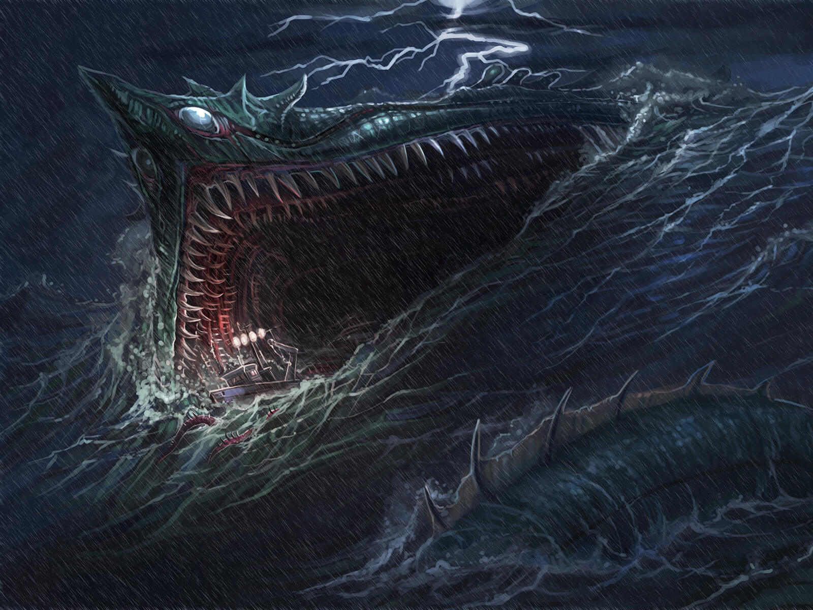 The teeth-filled maw of a massive sea serpent opens over tumultuous seas as a fishing boat is sucked down its dark recesses.