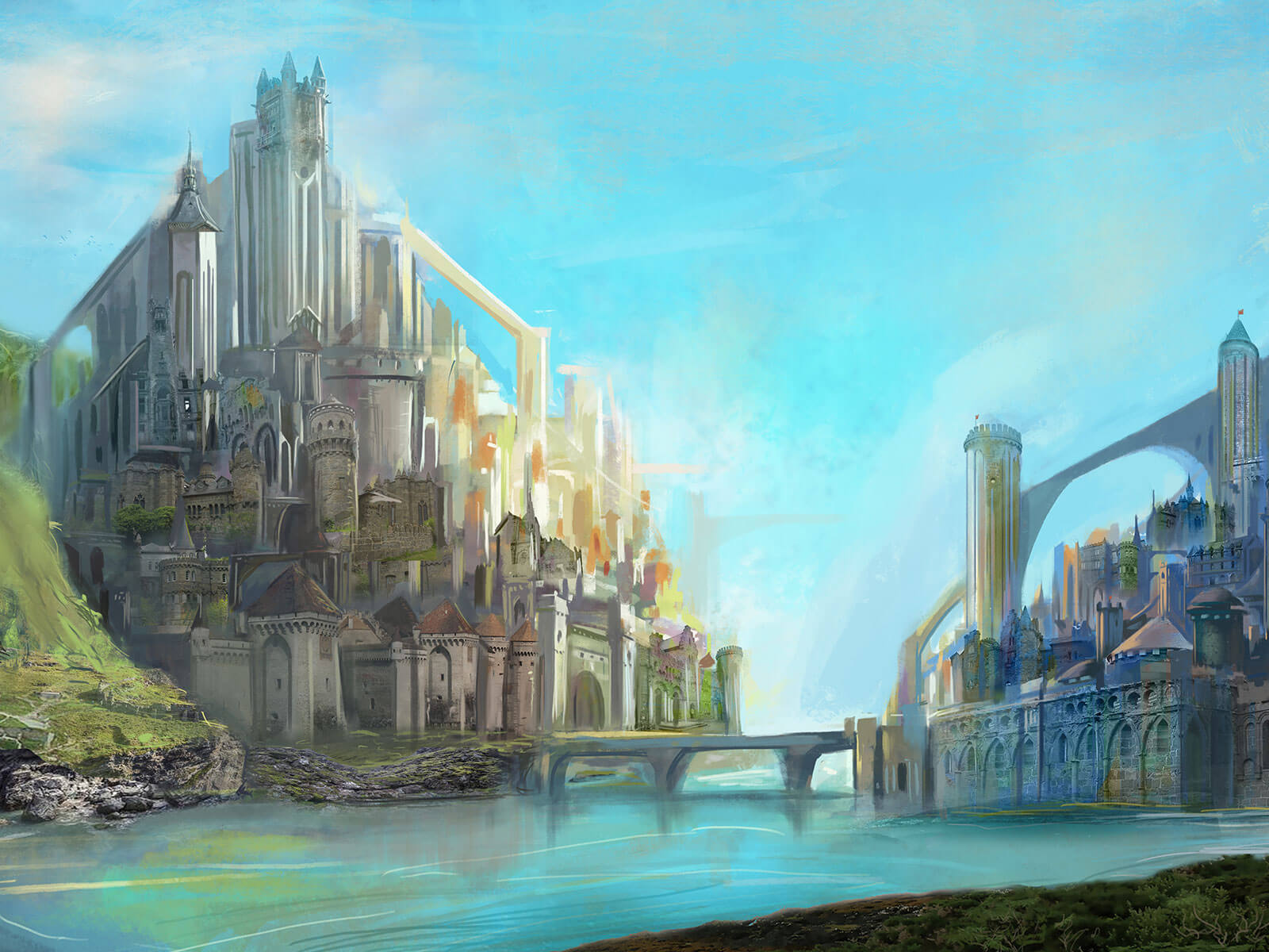 Two high-fantasy-style cities are connected by a single bridge across the river separating them.