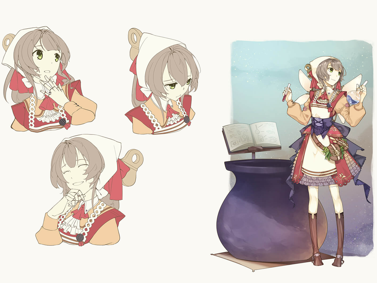 Character sketches of a young woman in red-white-and-blue country-style garb holding an ornate magical staff.