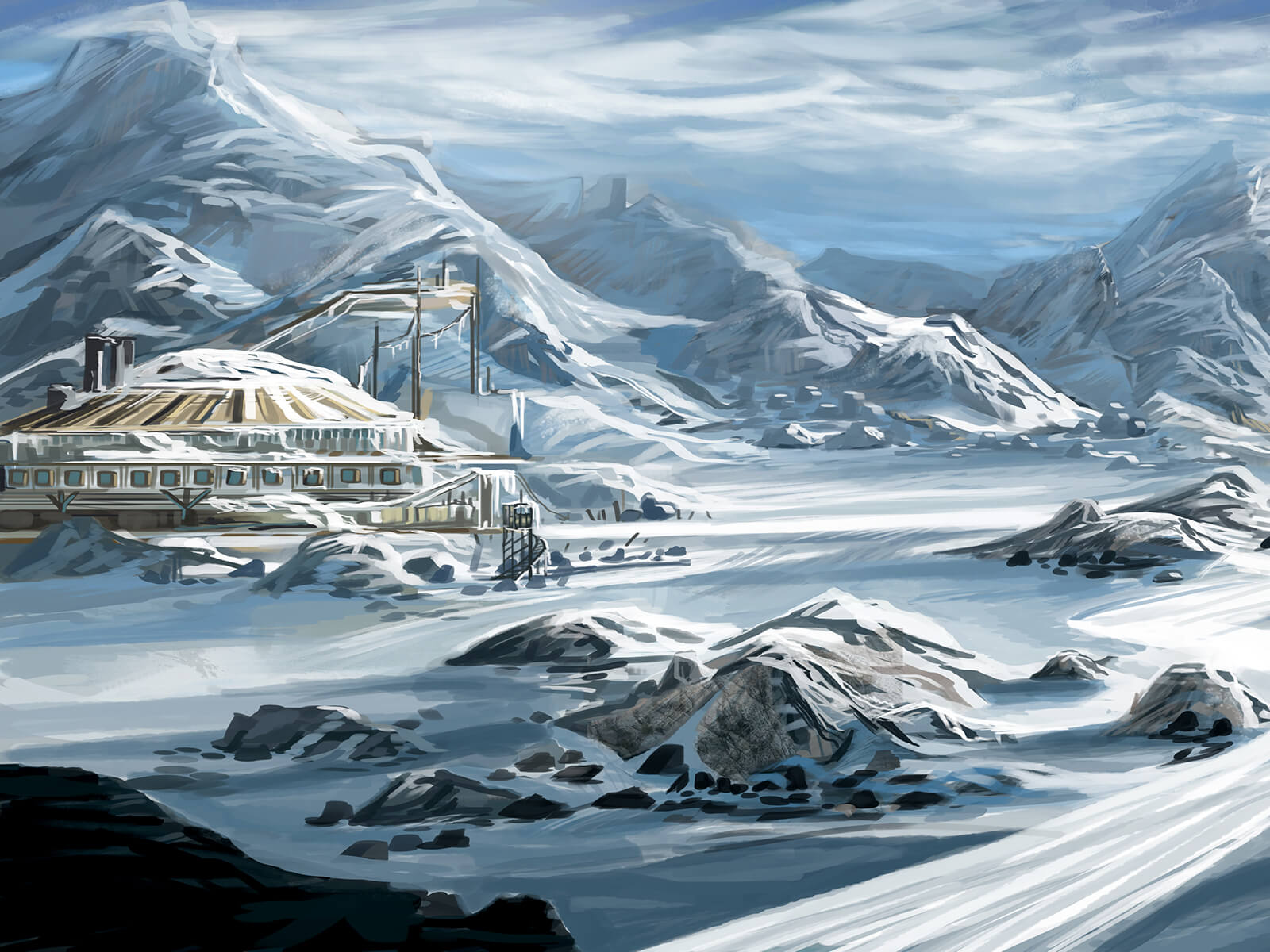 A remote research station and campsite at the base of an icy mountain range, seemingly devoid of activity.