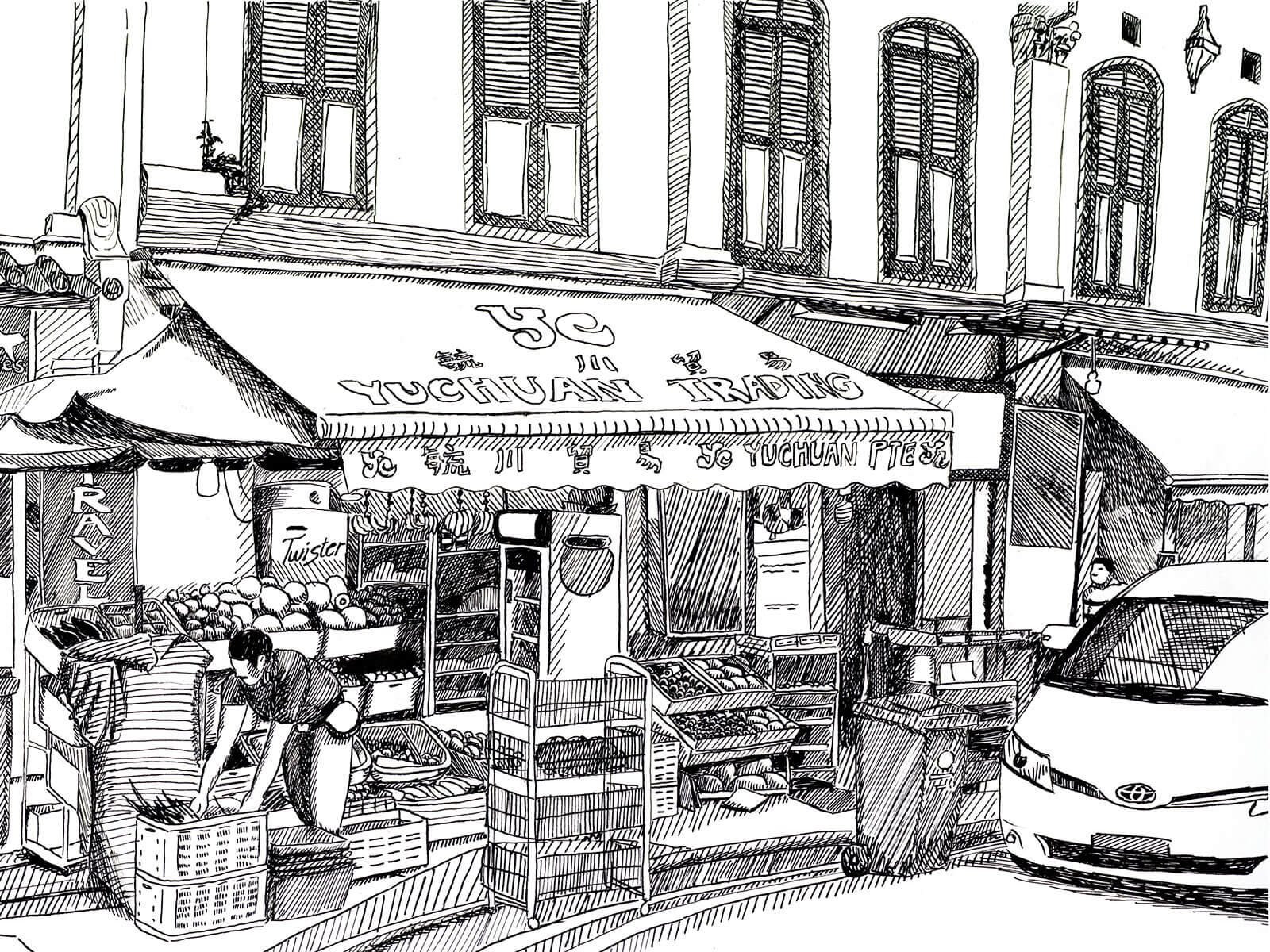 Black-and-white sketch of a grocer stocking produce at a market on the ground floor of a low-rise building.
