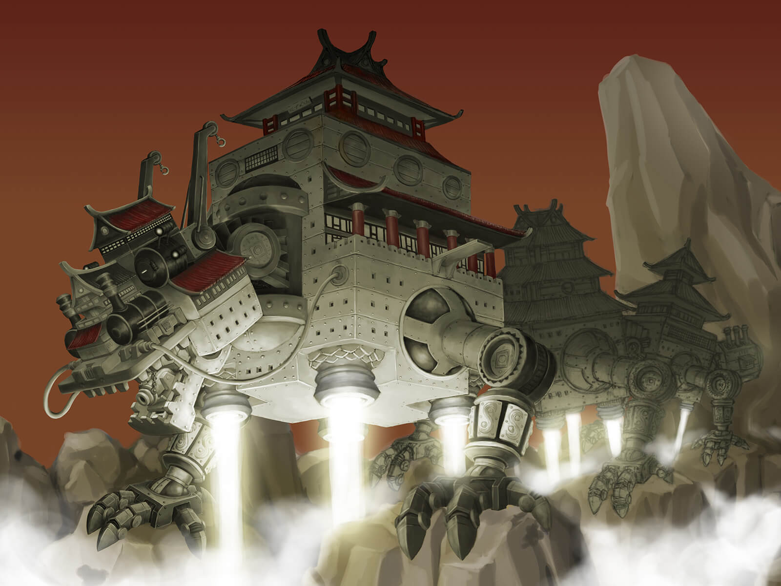 A massive steampunk-style metal dragon made up of interconnected pagoda-style fortresses crawls across a mountain range.