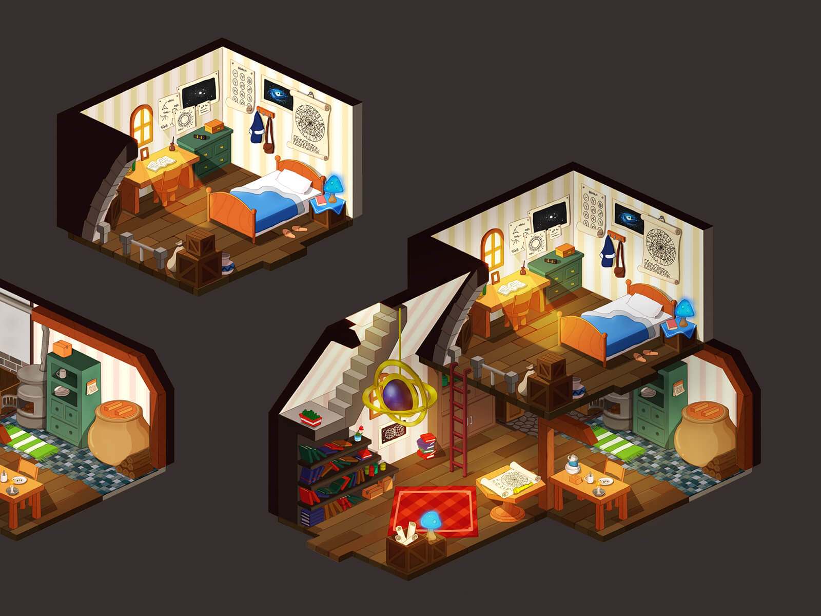 Isometric views of a bedroom and living room of a snug home with simple wooden furnishings and iron stove.