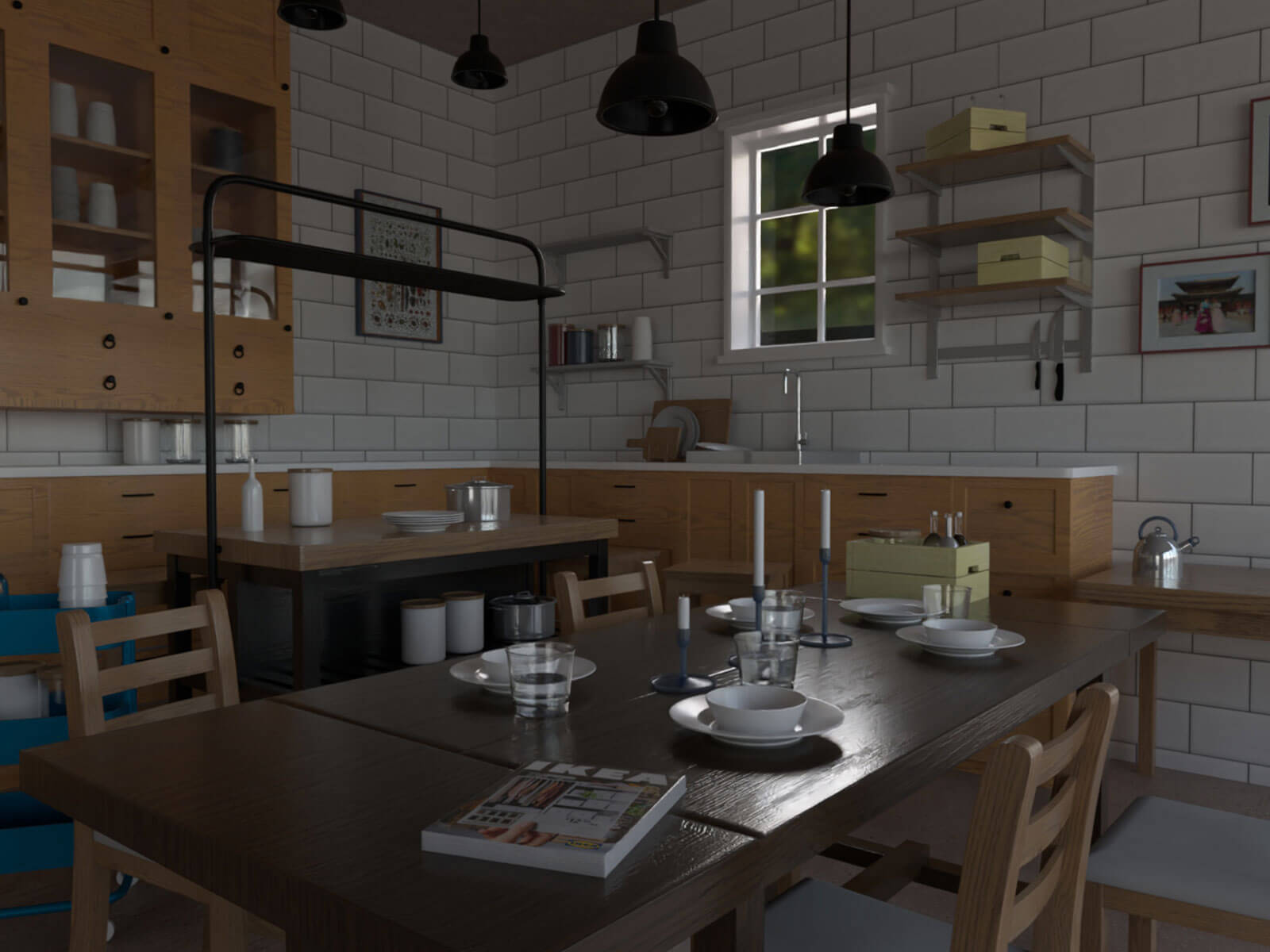 3D-modeled scene of a corner of a kitchen with a dining area in the foreground.