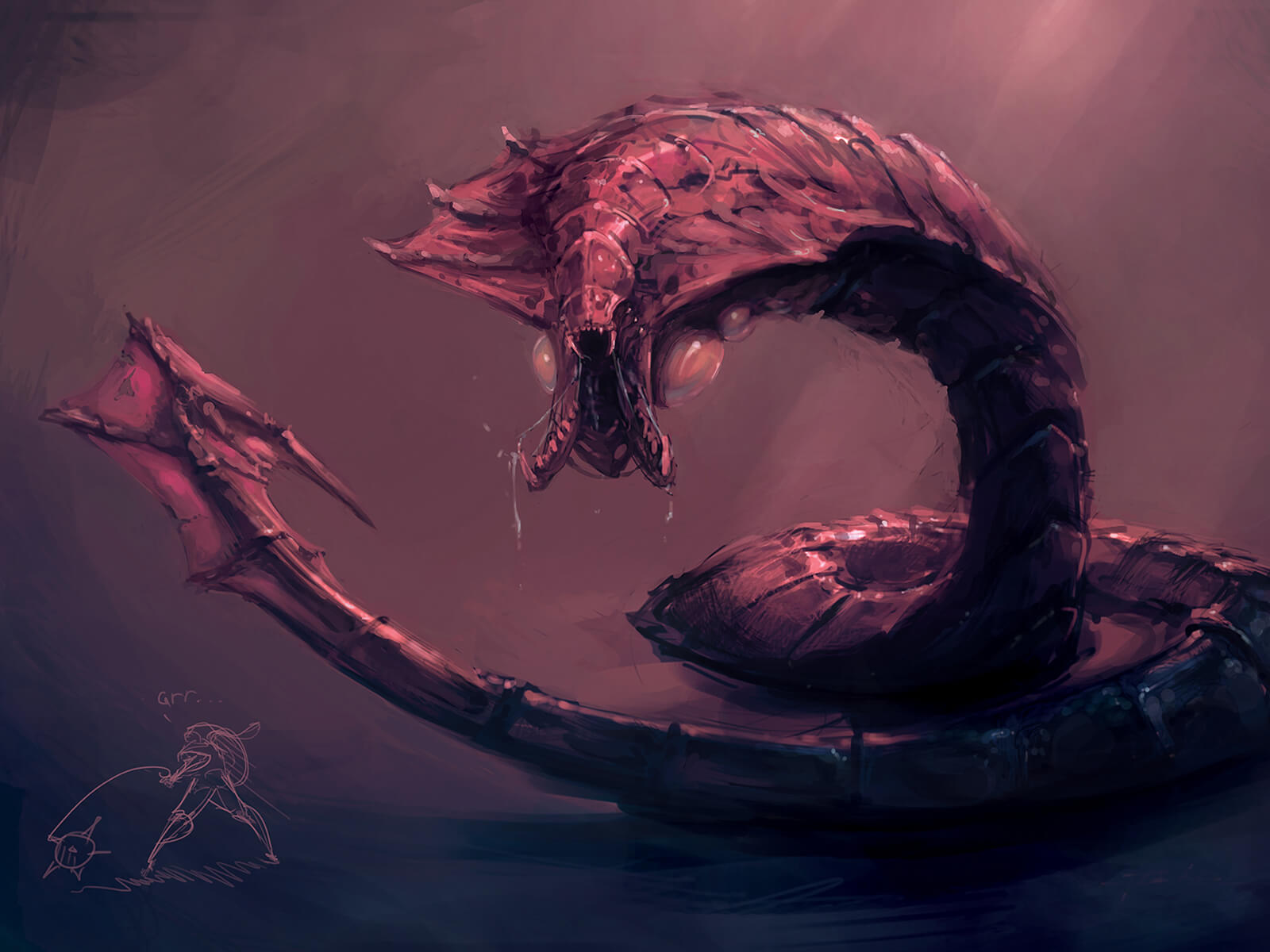 A segmented worm-like monster ending in a sharp barb bares an open trap-jaw mouth filled with teeth under a dim, red light.