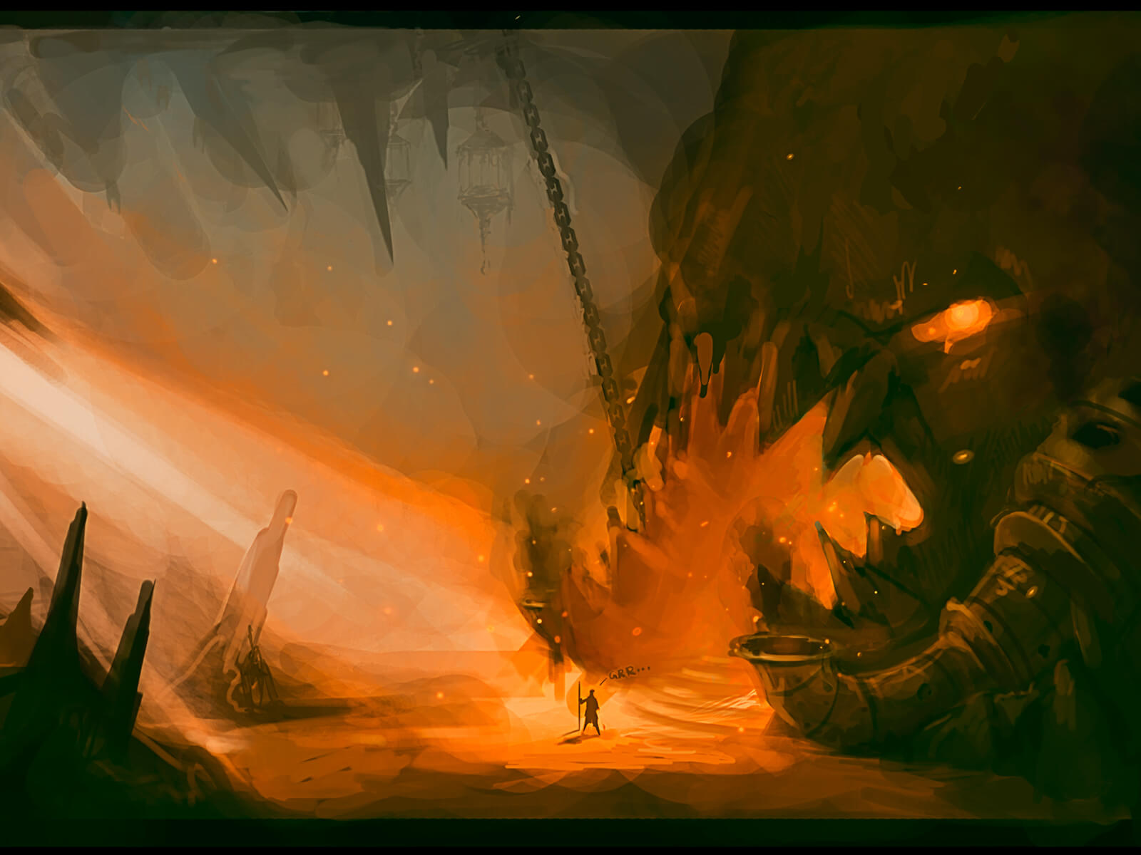 A massive underground cavern is lit from a steep stairway and the fire of a menacing, toothy maw-shaped cave entrance.