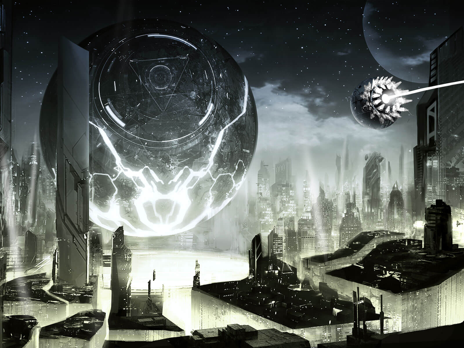 A futuristic cityscape built around a giant sphere hovering just above the ground.