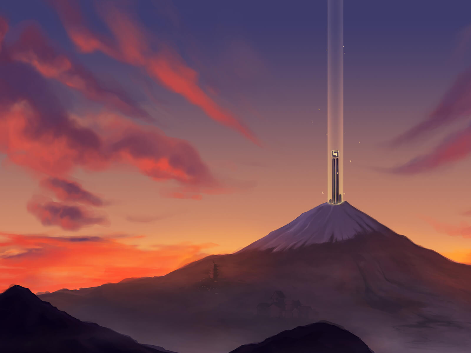 Mount Fuji from a distance during a fiery-red sunset. At its peak, a tall black spire shoots a beacon of light into the air.
