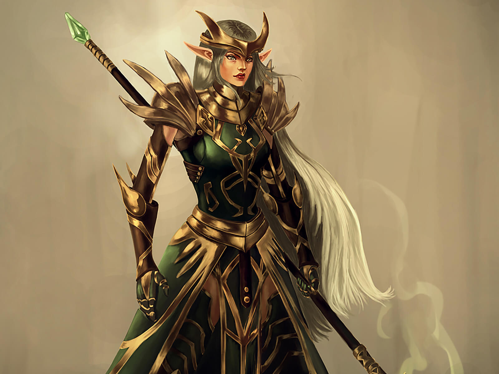 An elvish warrior stands in ornate green and gold armor holding a long staff topped by an emerald gem wafting magical vapors.