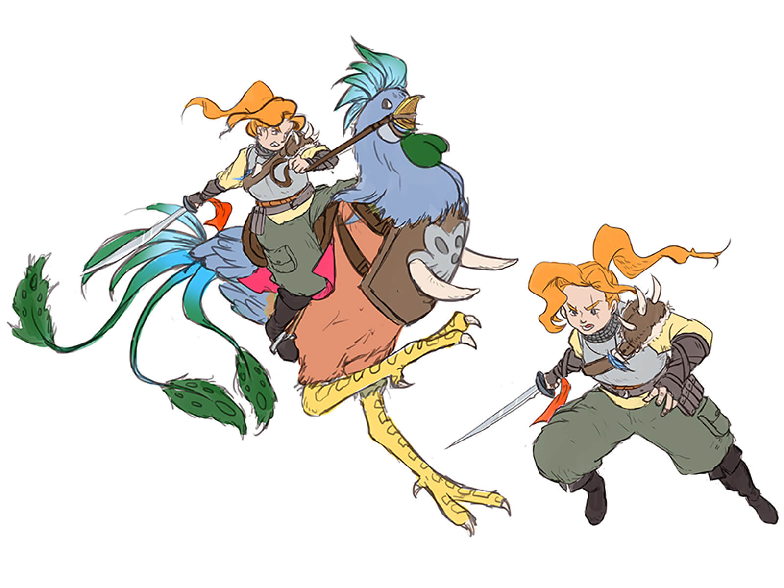 Sketches of an orange-haired warrior brandishing a long, swept sword in various poses, including riding a rooster-like mount.